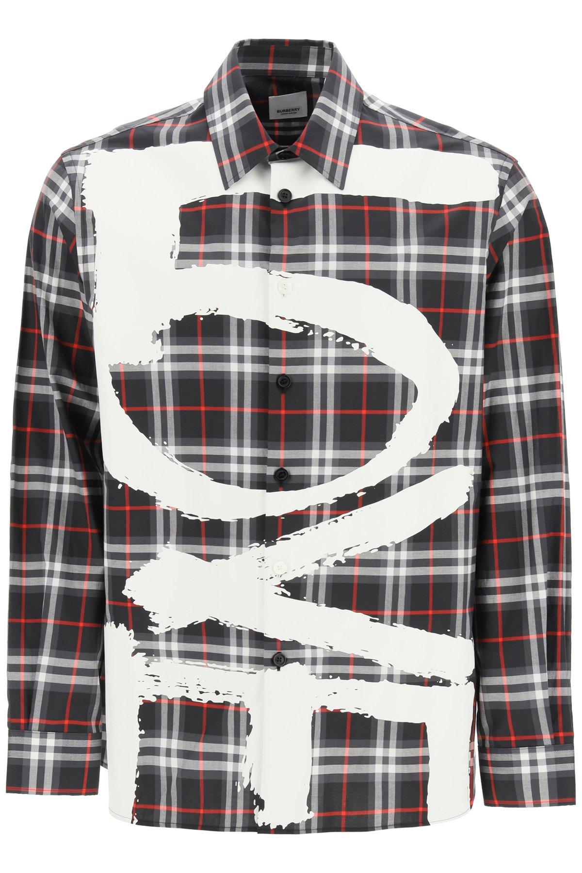 Burberry camicia tavington vintage check stampa love