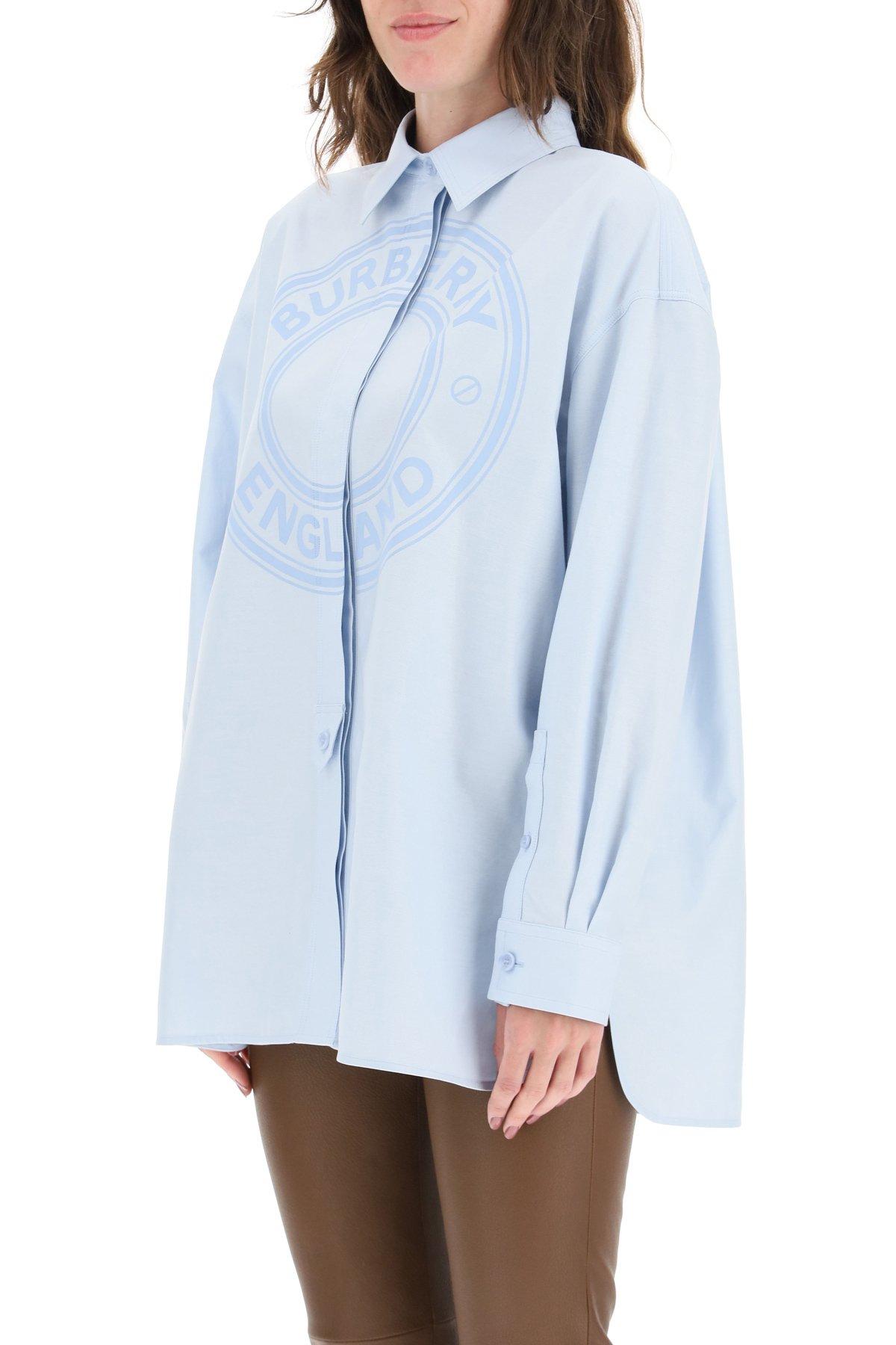 Burberry camicia oversize con logo