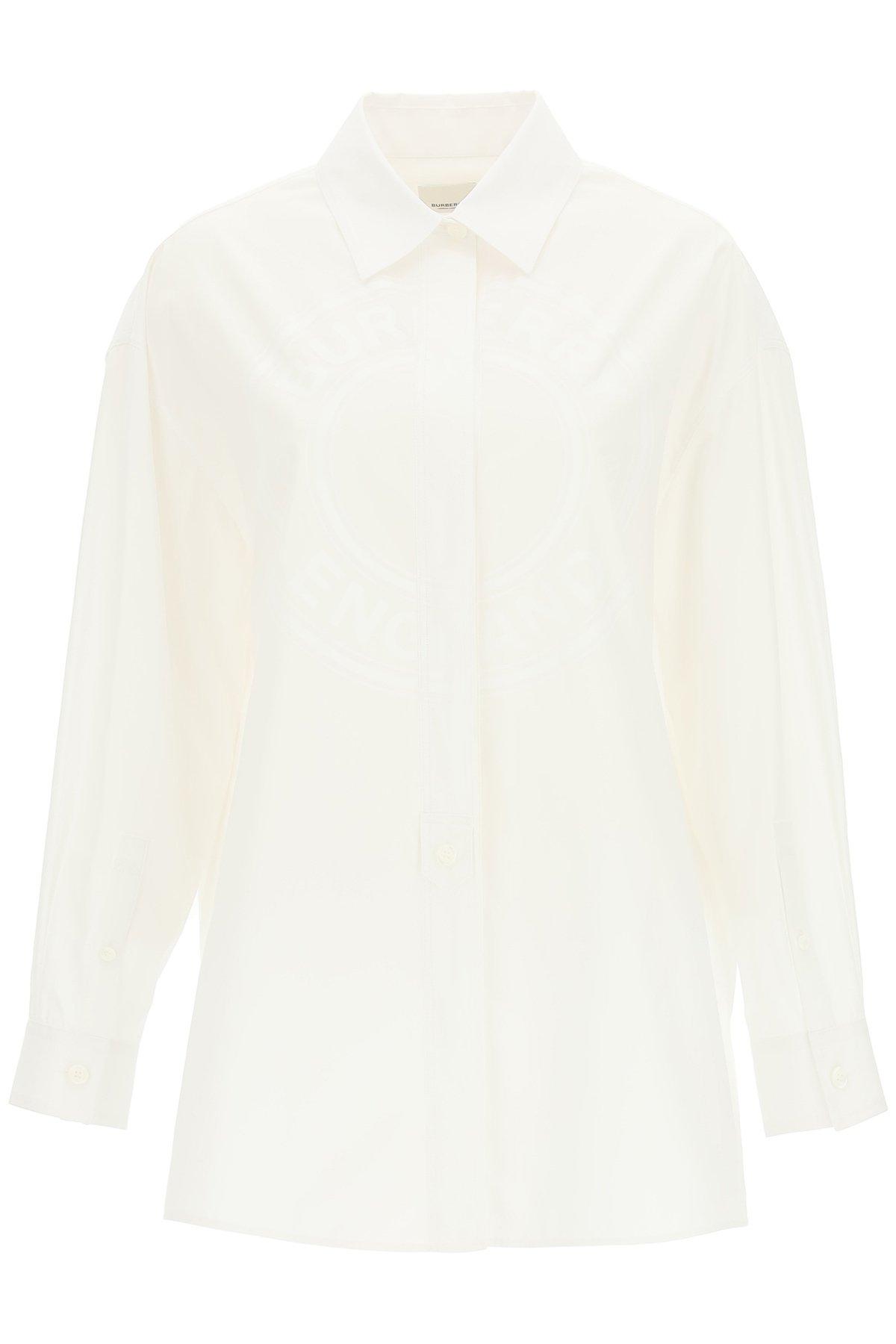 Burberry camicia clarissa con grafica logo