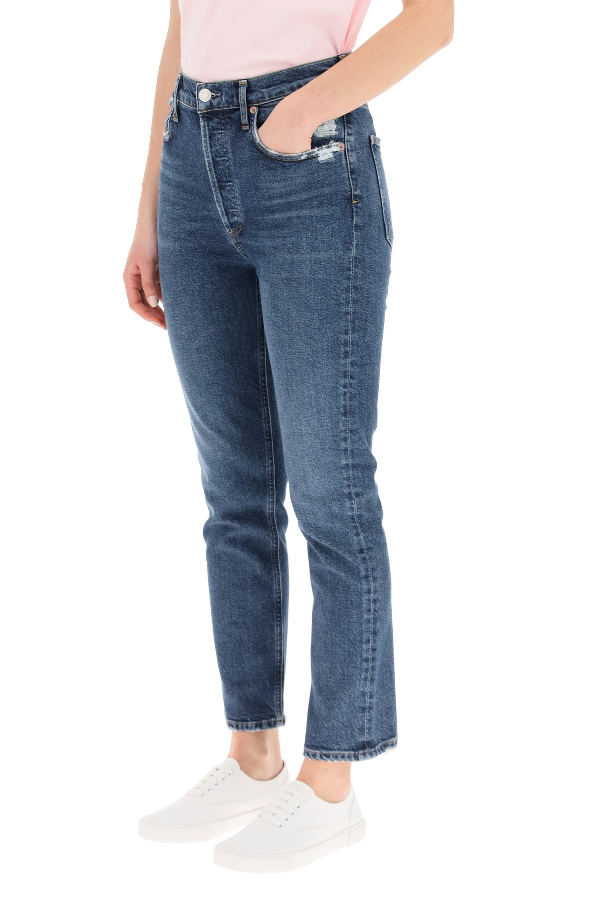 Agolde jeans riley high rise straight crop