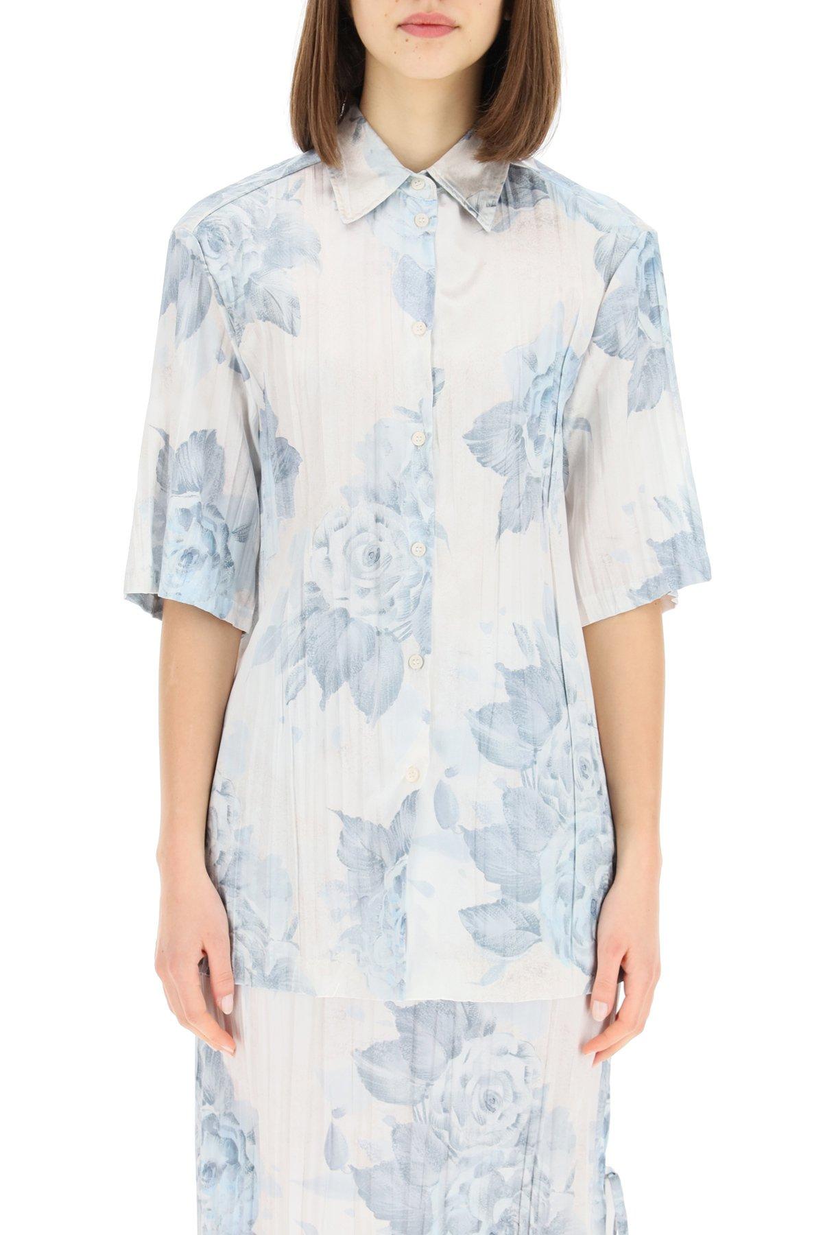 Acne studios camicia in raso plissé floreale
