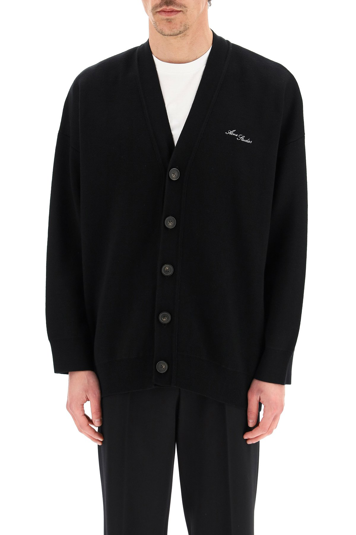 Acne studios cardigan in lana con logo