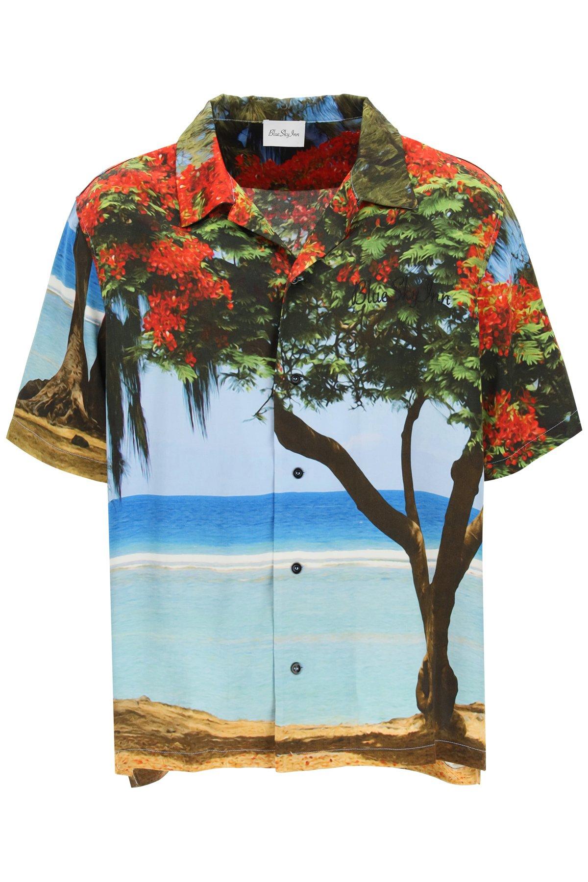 Blue sky inn camicia logo in viscosa