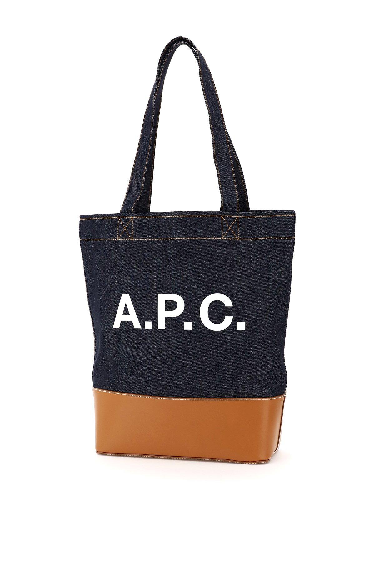A.p.c. borsa shopper in denim axelle logo