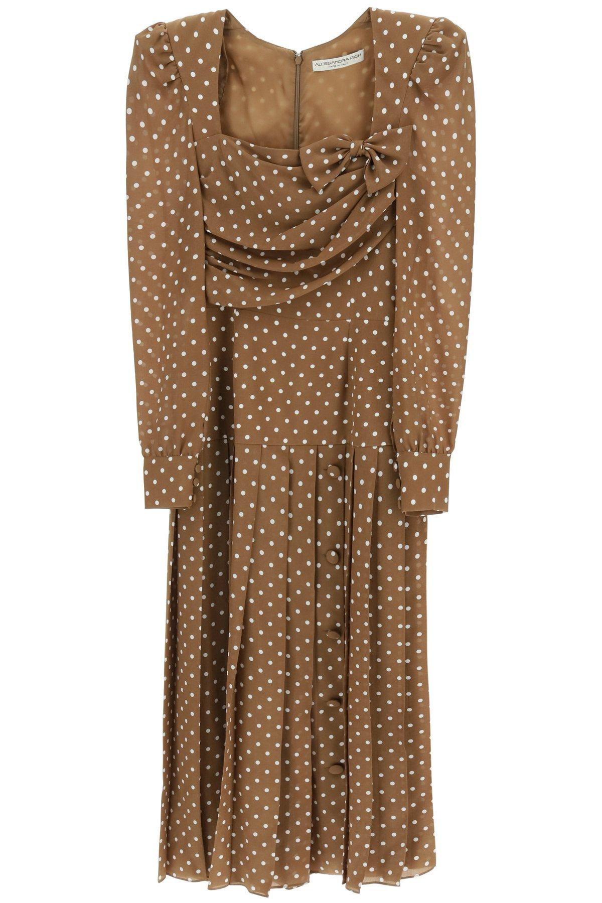 Alessandra rich abito midi in seta a pois
