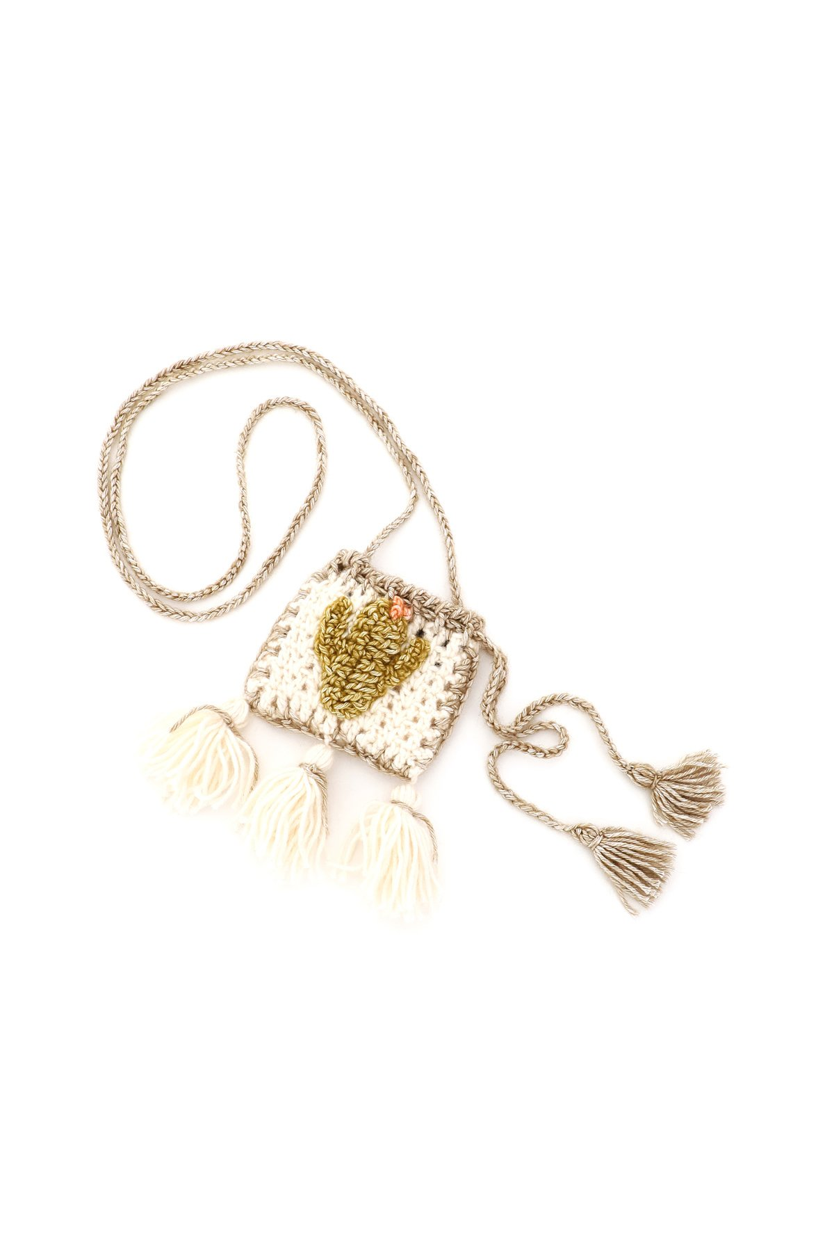 Alanui micro bag per airpods cactus case crochet
