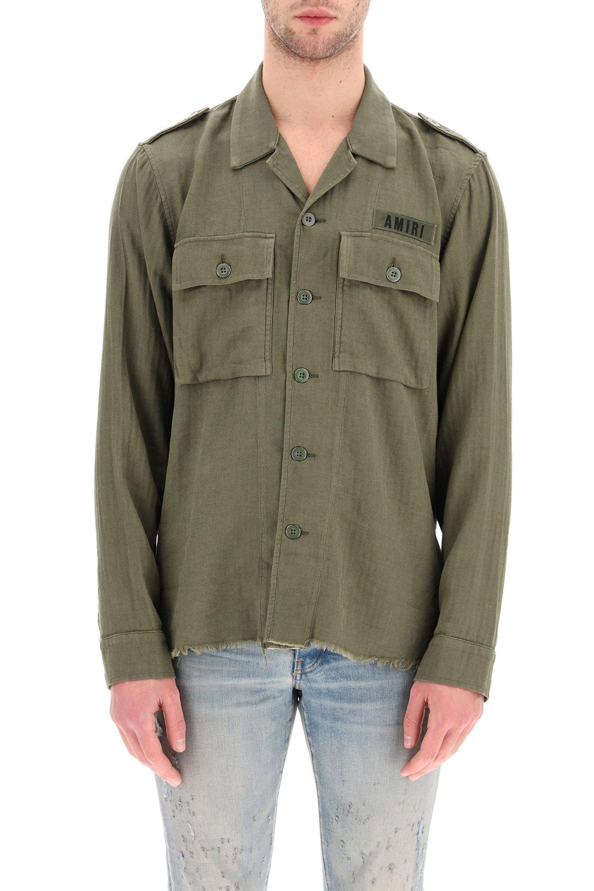 Amiri camicia militare cotone e cachemire