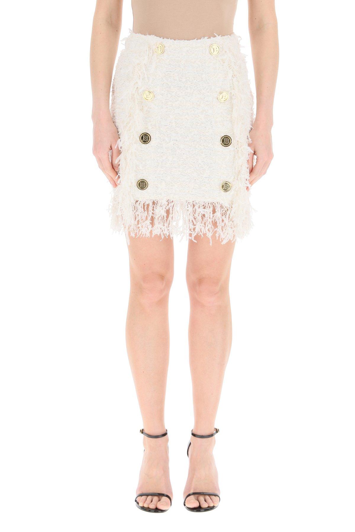 Balmain minigonna in tweed con frange