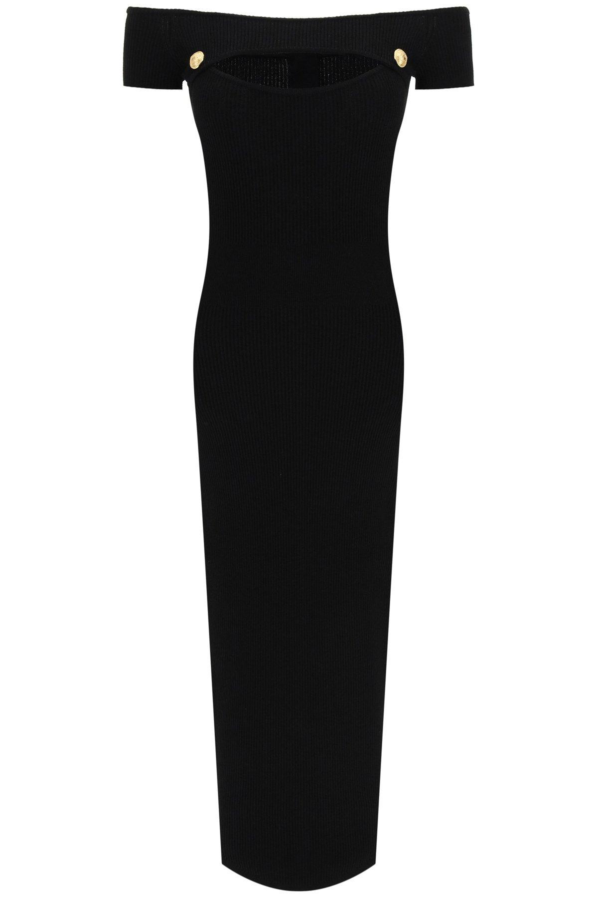 Balmain abito a costine off-shoulder
