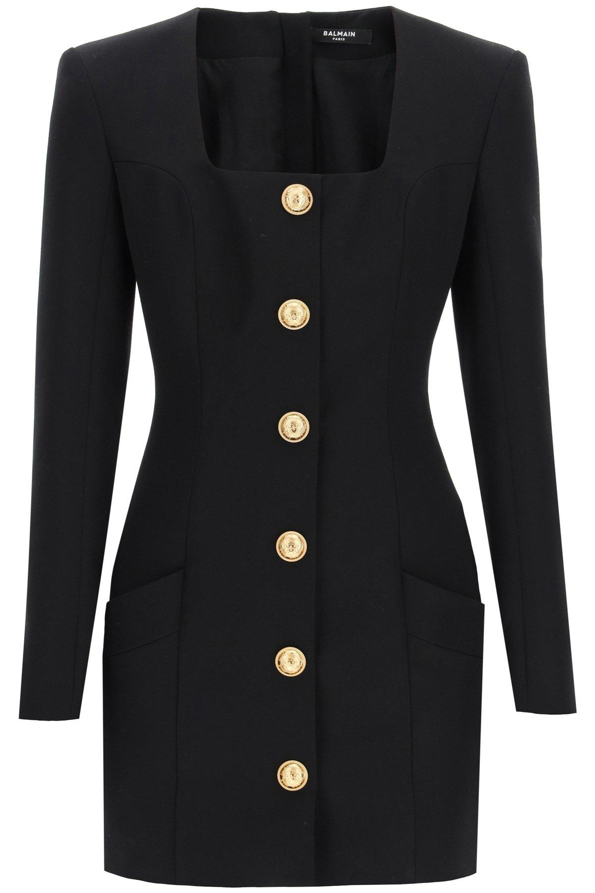 Balmain abito corto in lana con bottoni dorati