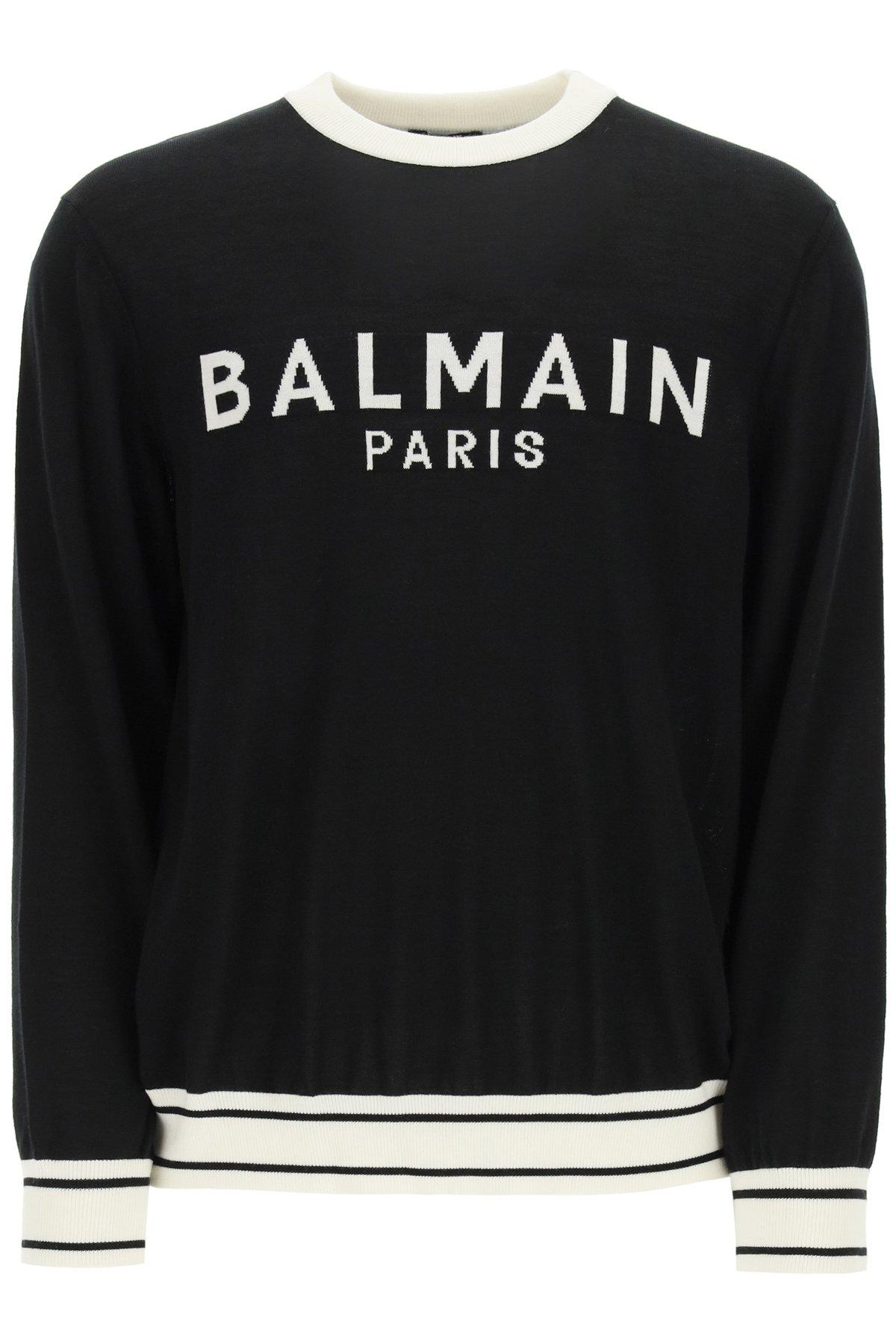 Balmain pullever in lana con logo intarsiato