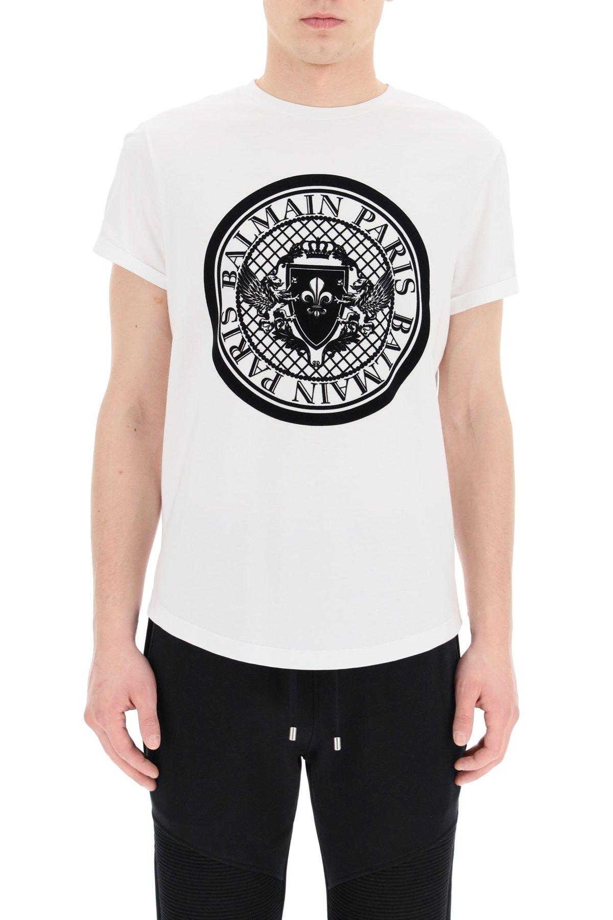 Balmain t-shirt con logo flock medaglione