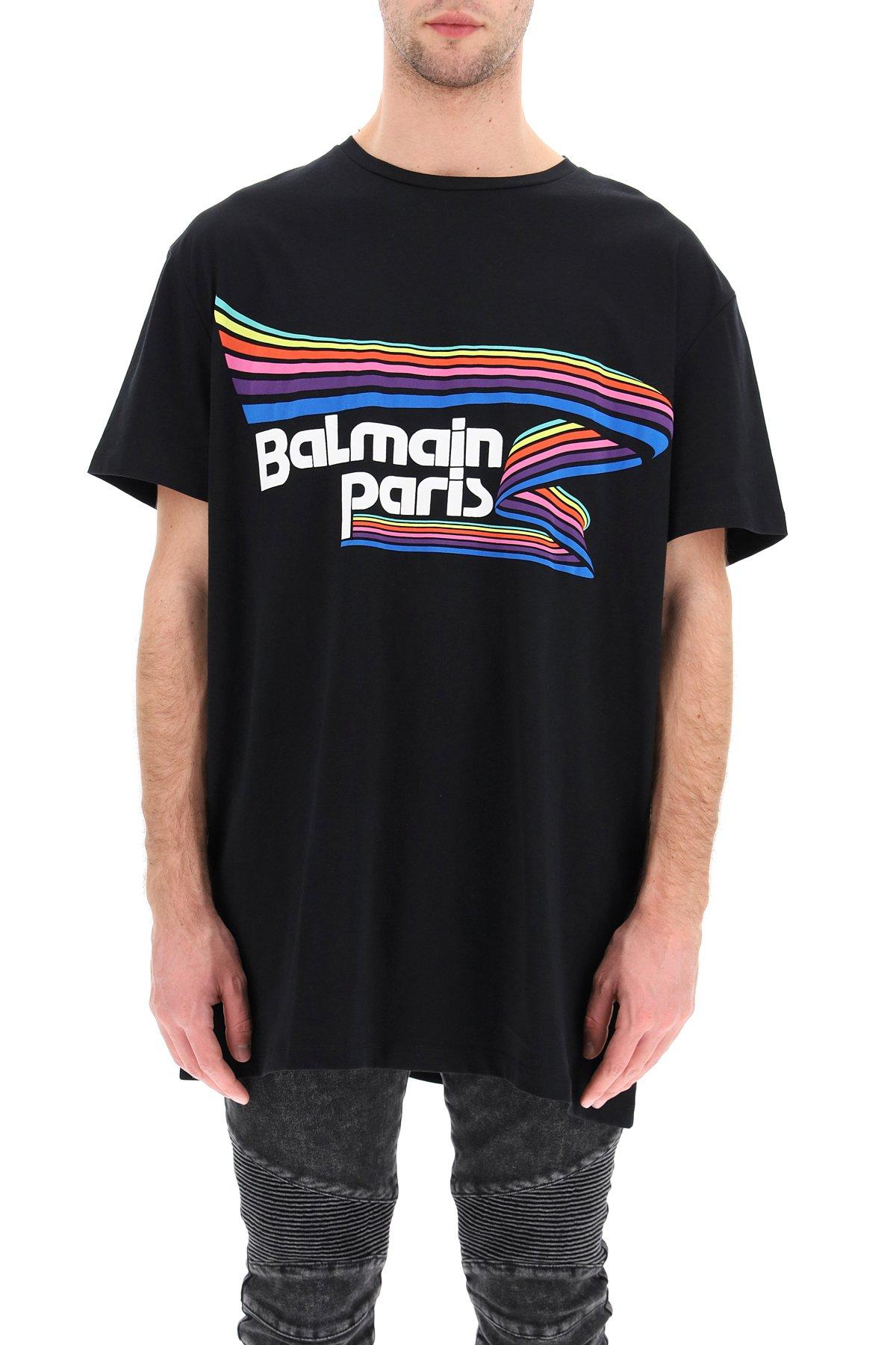 Balmain t-shirt stampa logo flock rubber multicolor