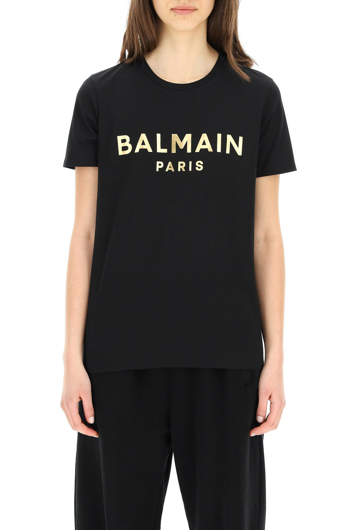 Balmain t-shirt con logo metallico