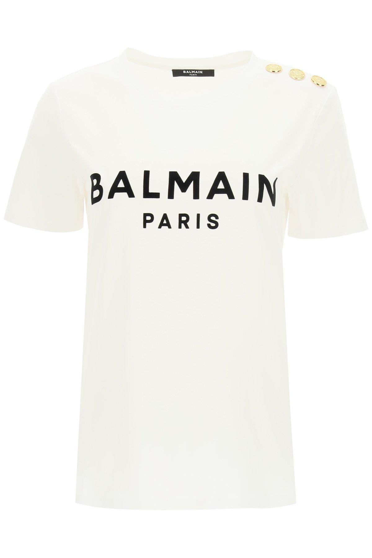 Balmain t-shirt stampa logo flock