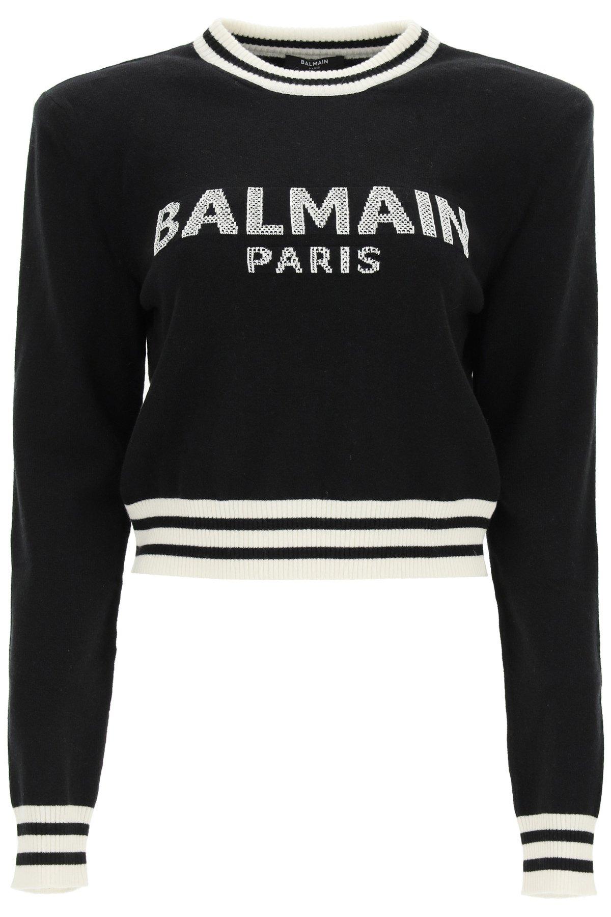 Balmain maglia crop con logo