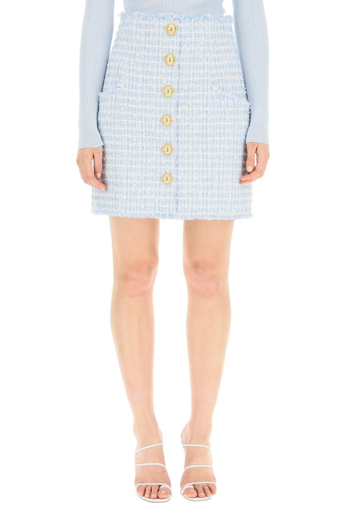 Balmain minigonna a vita alta in tweed