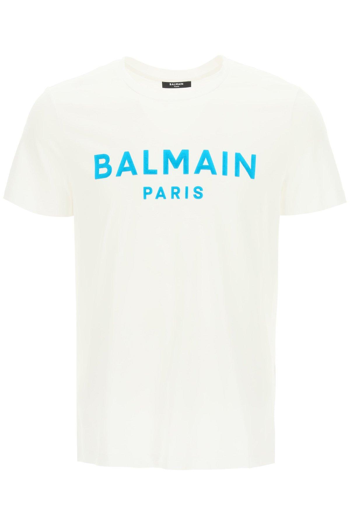 Balmain t-shirt con stampa logo flock