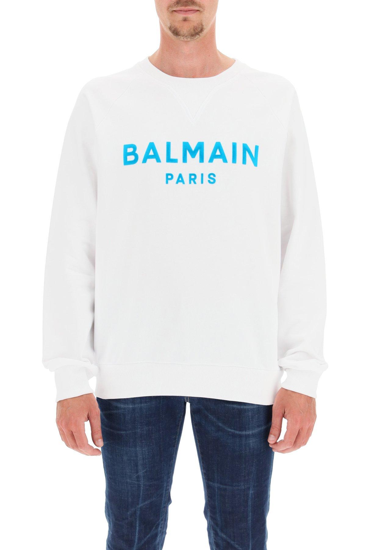 Balmain felpa con stampa logo flock