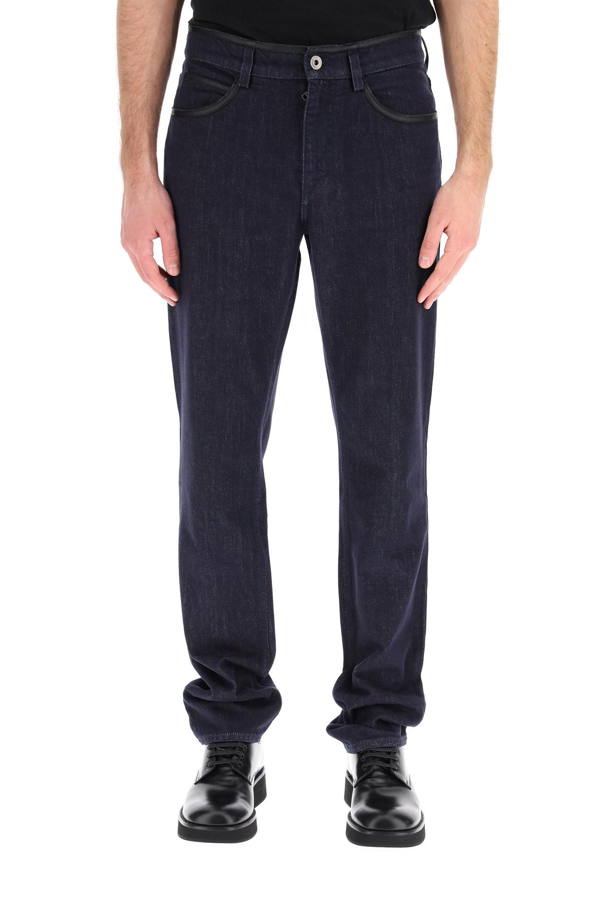 Salvatore ferragamo jeans con profili in pelle