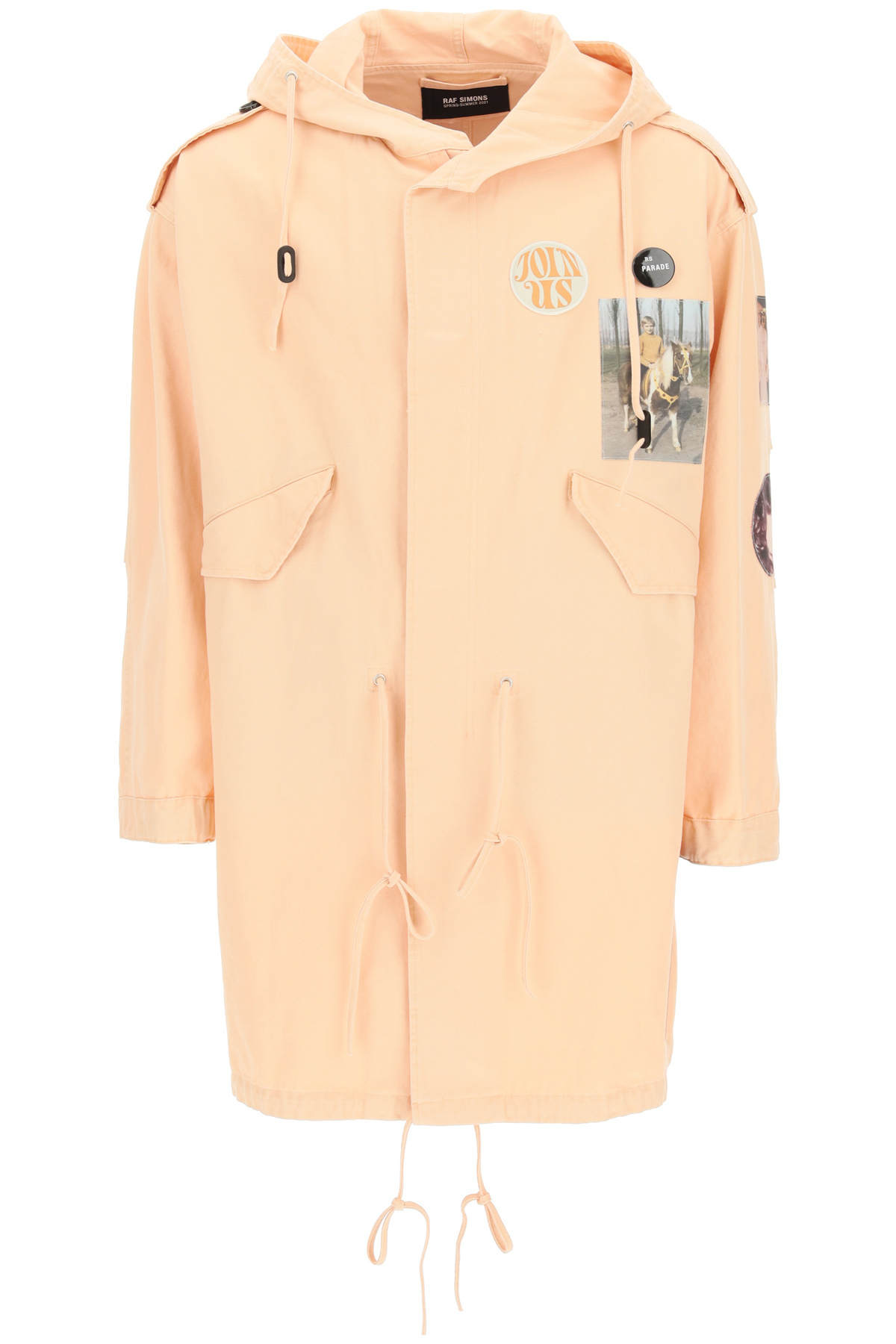 Raf simons parka in cotone con patch