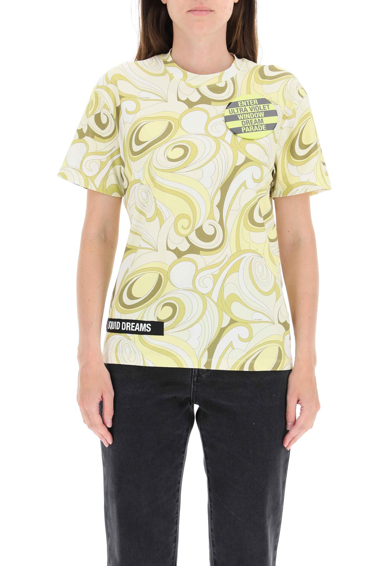 Raf simons t-shirt stampata con spilla