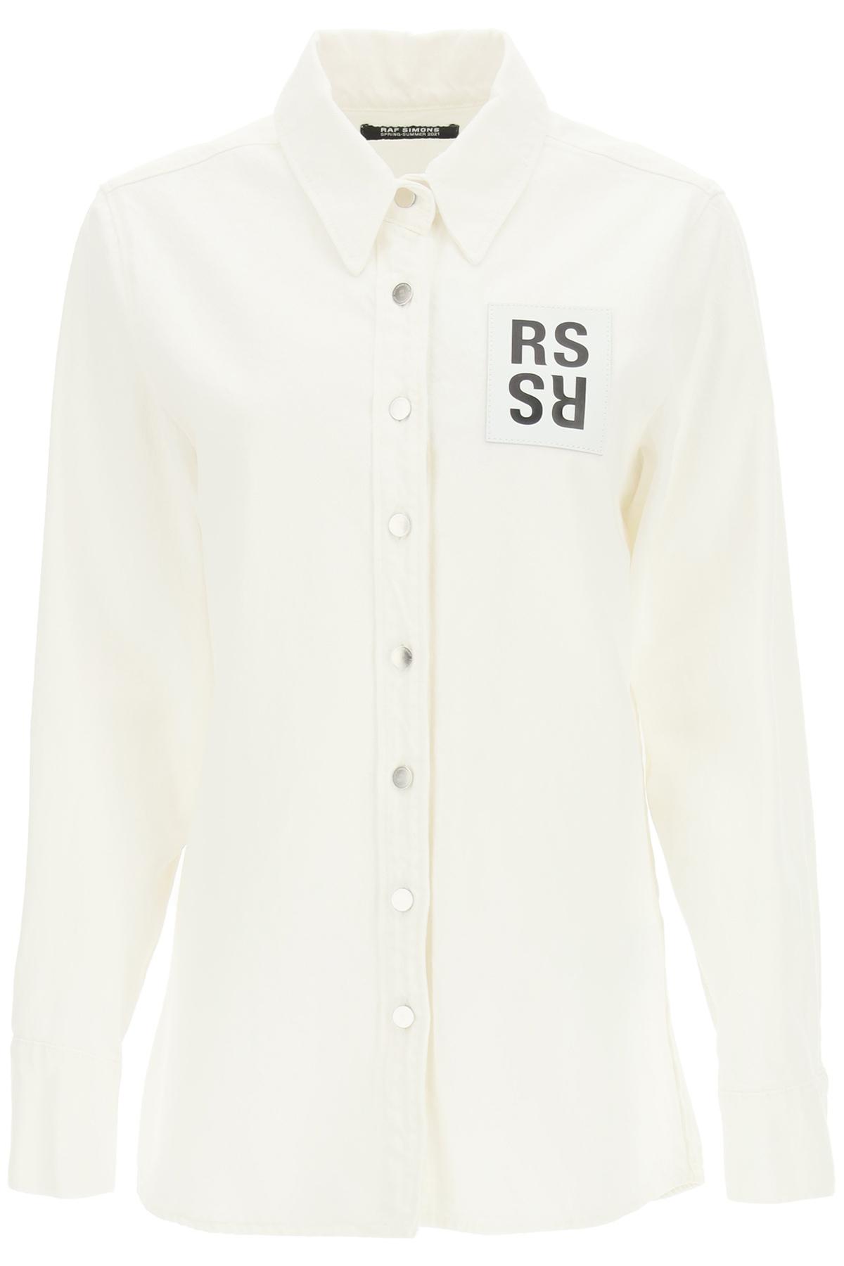 Raf simons camicia denim con patch logo