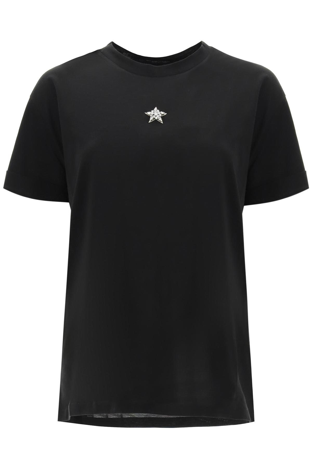 Stella mccartney t-shirt ricamo ministar con cristalli