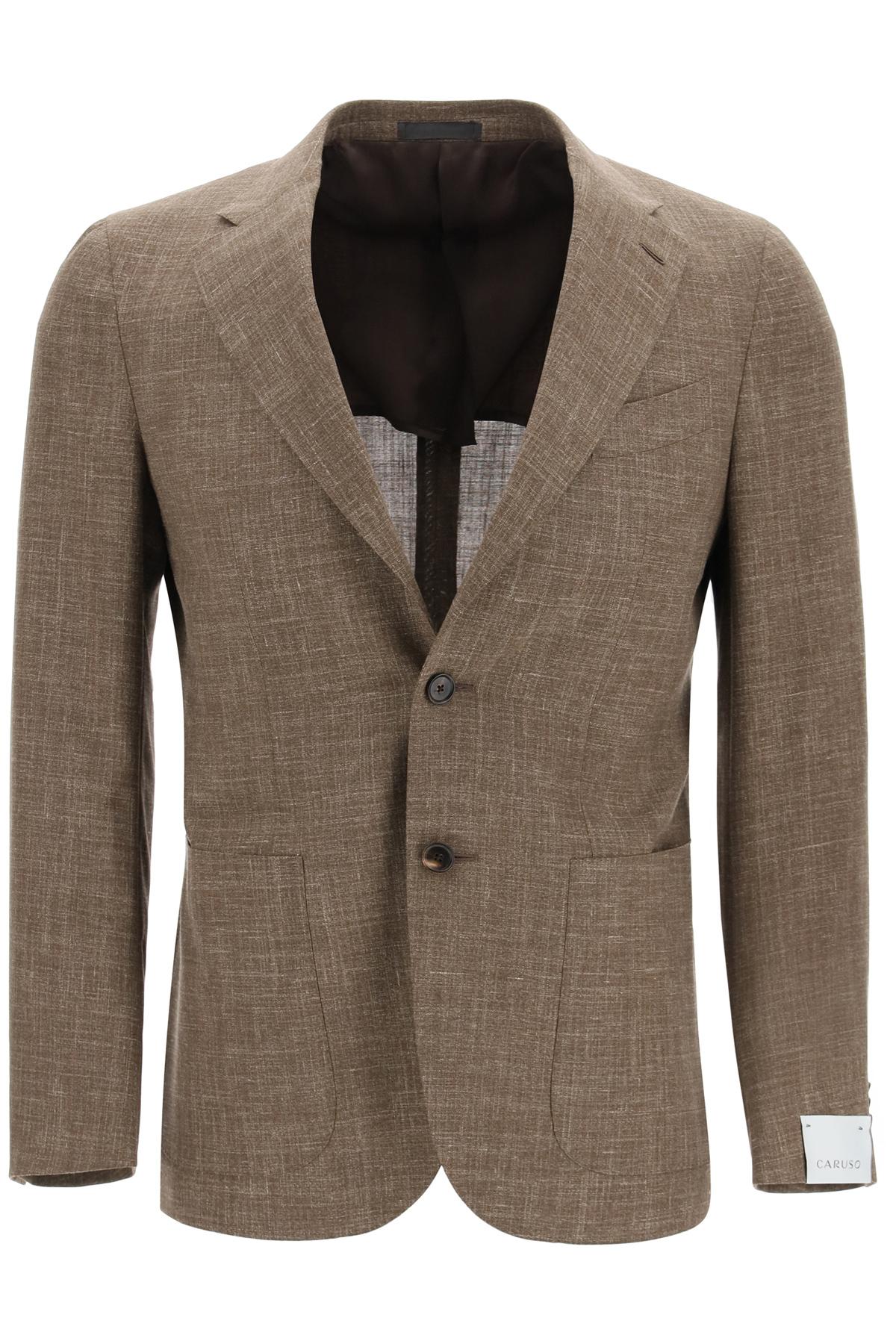 Caruso blazer tosca in misto lana seta e lino