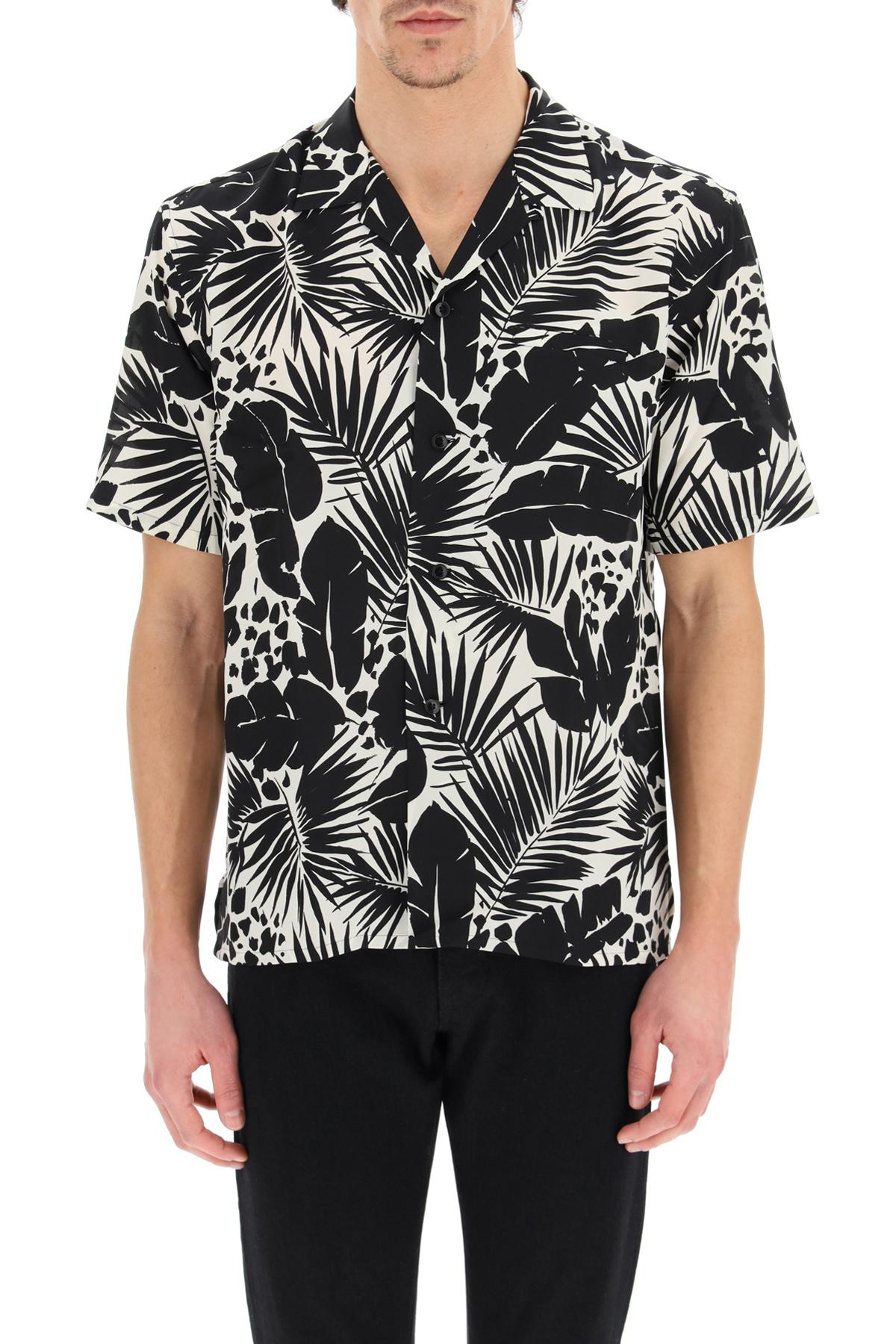 Saint laurent camicia stampa foglia tropical