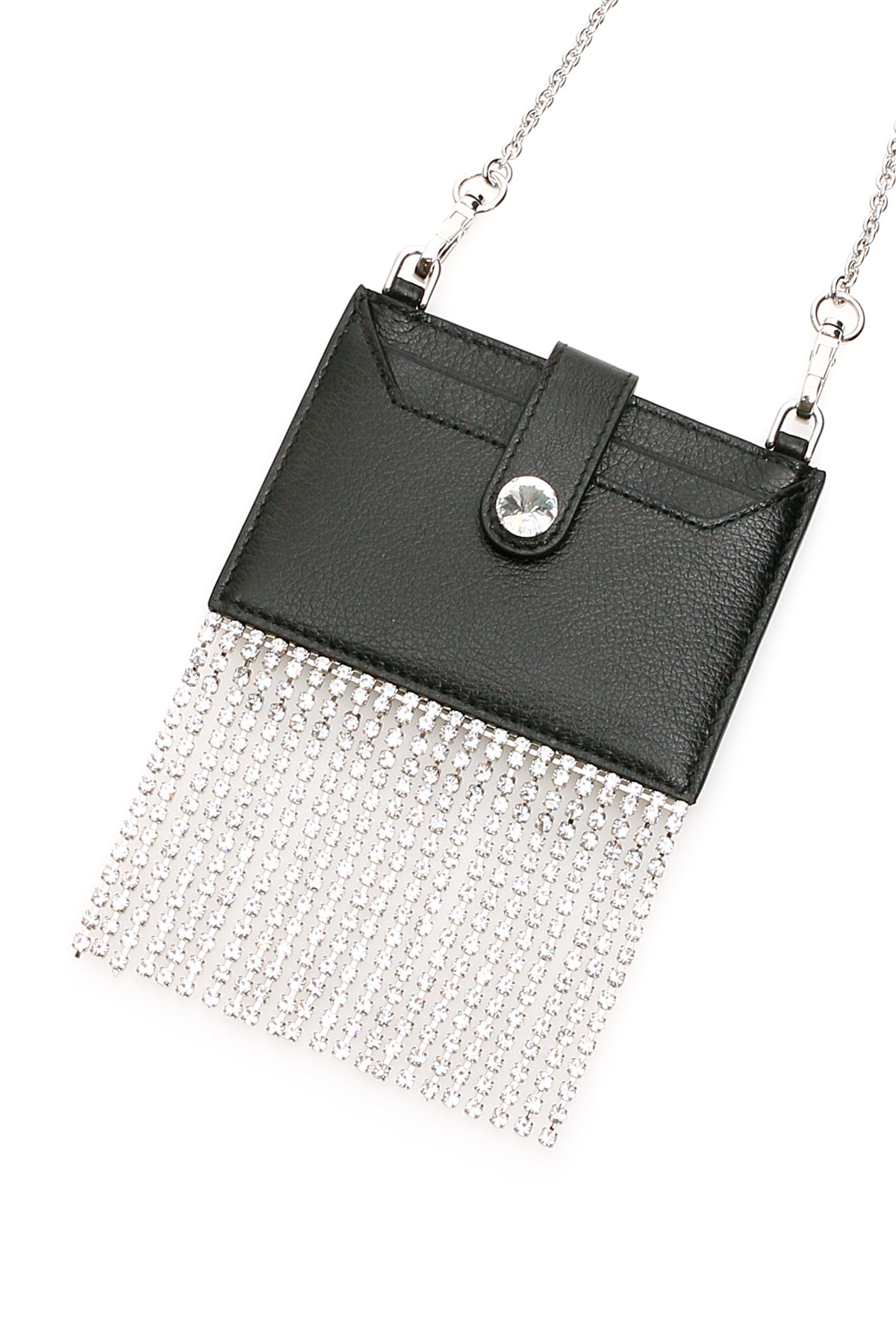 Miu miu portacarte crystal fringes con catena