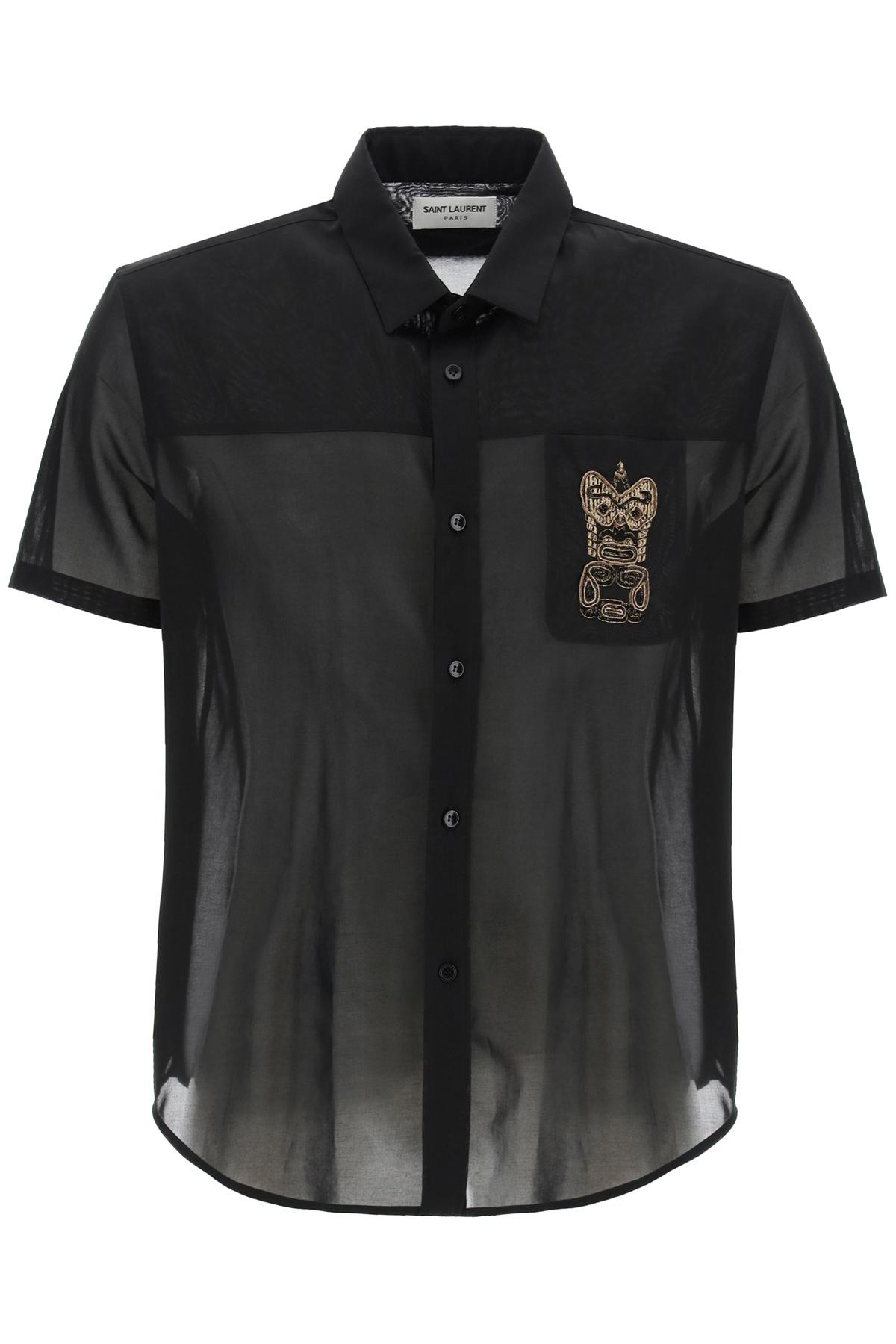 Saint laurent camicia in voile di cotone con ricamo