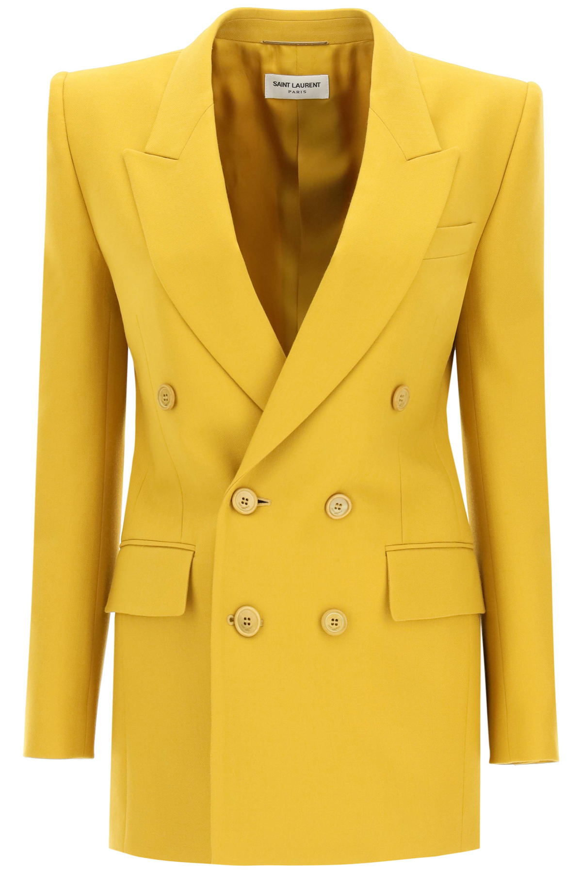 Saint laurent giacca doppio petto in lana chevron