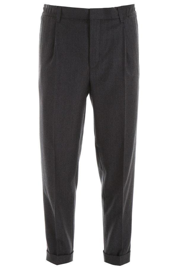 Cc collection corneliani pantaloni lana con coulisse
