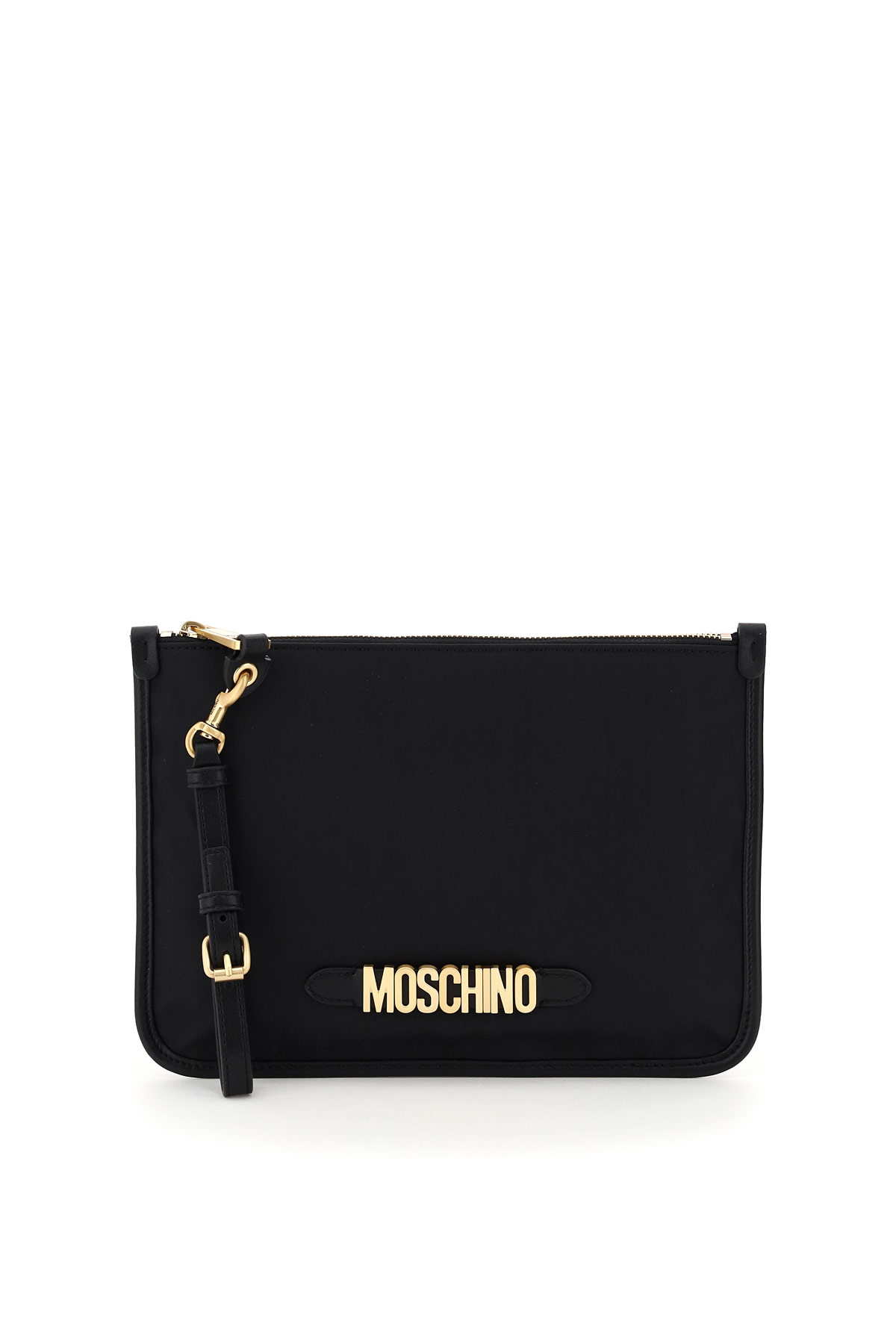 Moschino pouch in tessuto lettering moschino