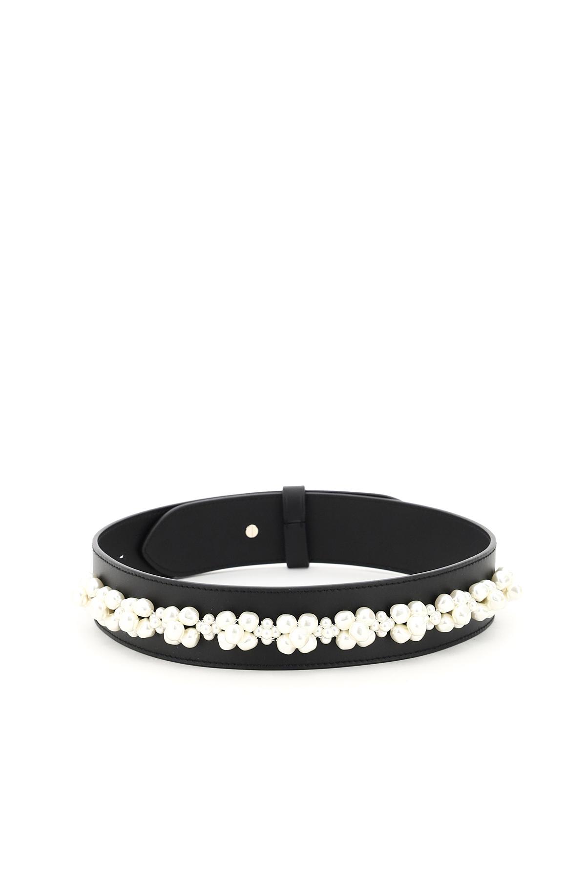 Simone rocha cintura in pelle embellished pearls
