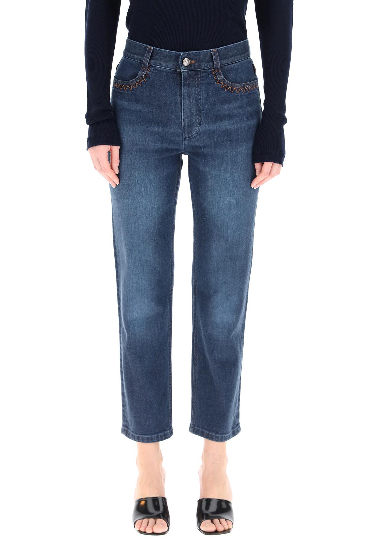 Chloe' jeans con logo a laser