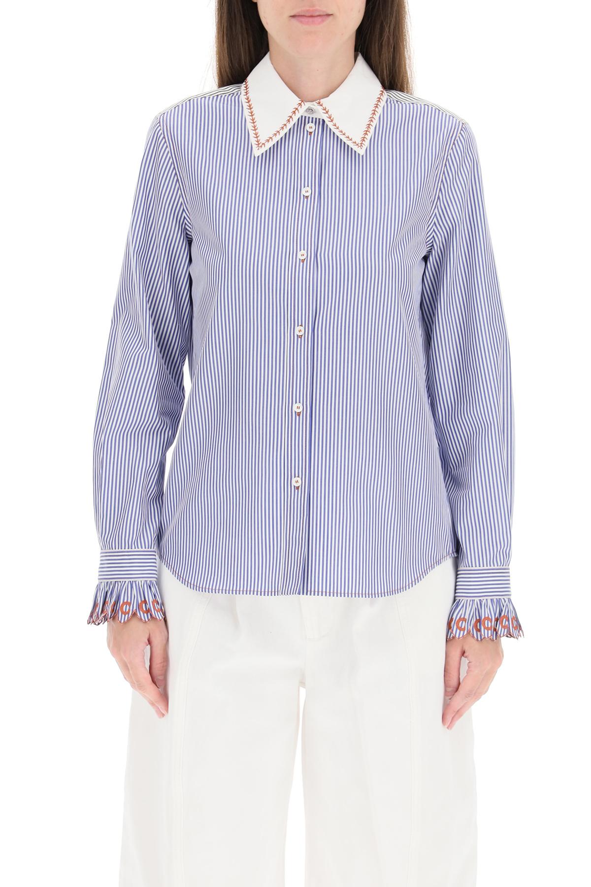 Chloe' camicia a righe con colletto a contrasto