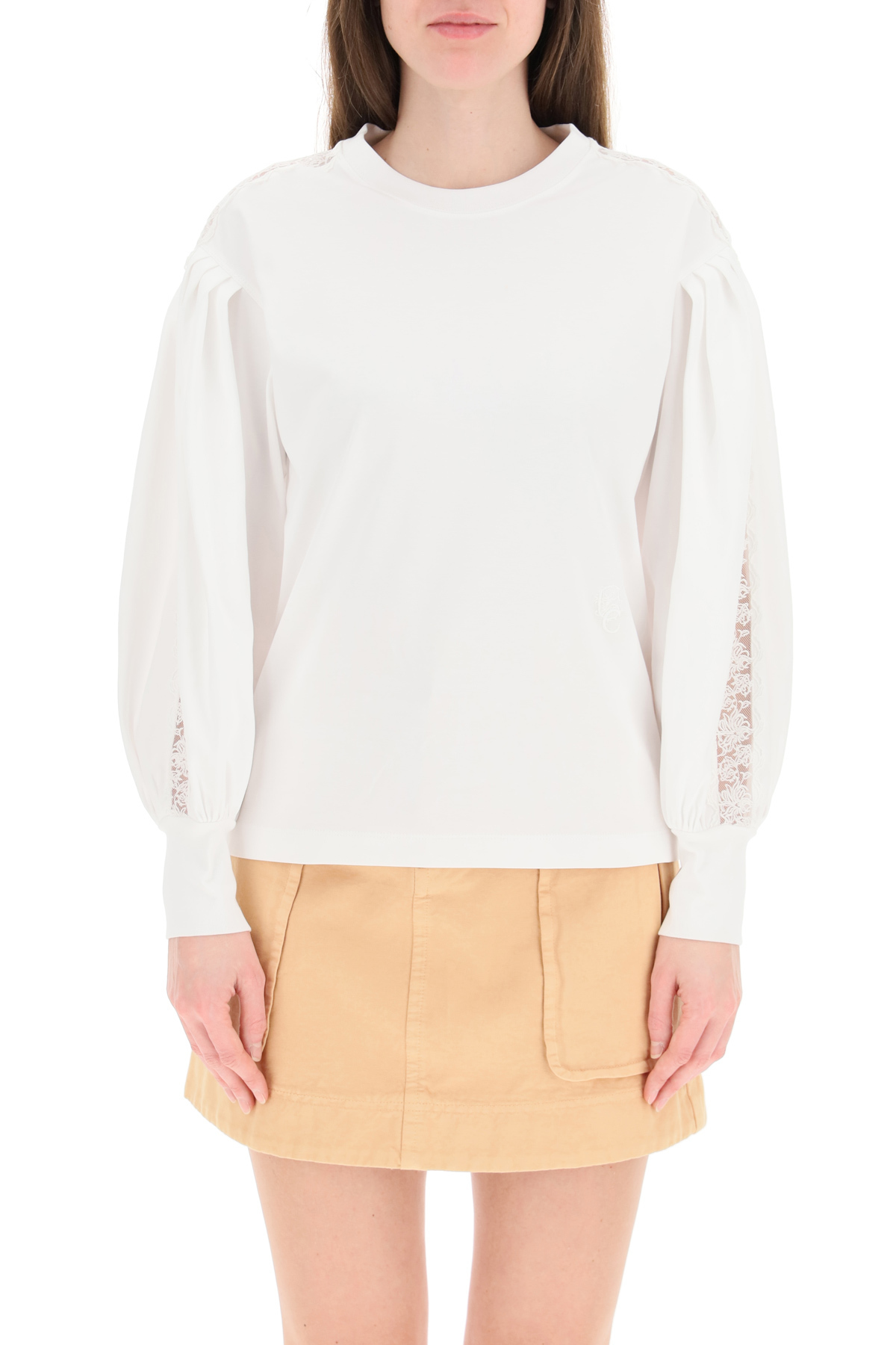 Chloe' t-shirt jersey con inserti in pizzo