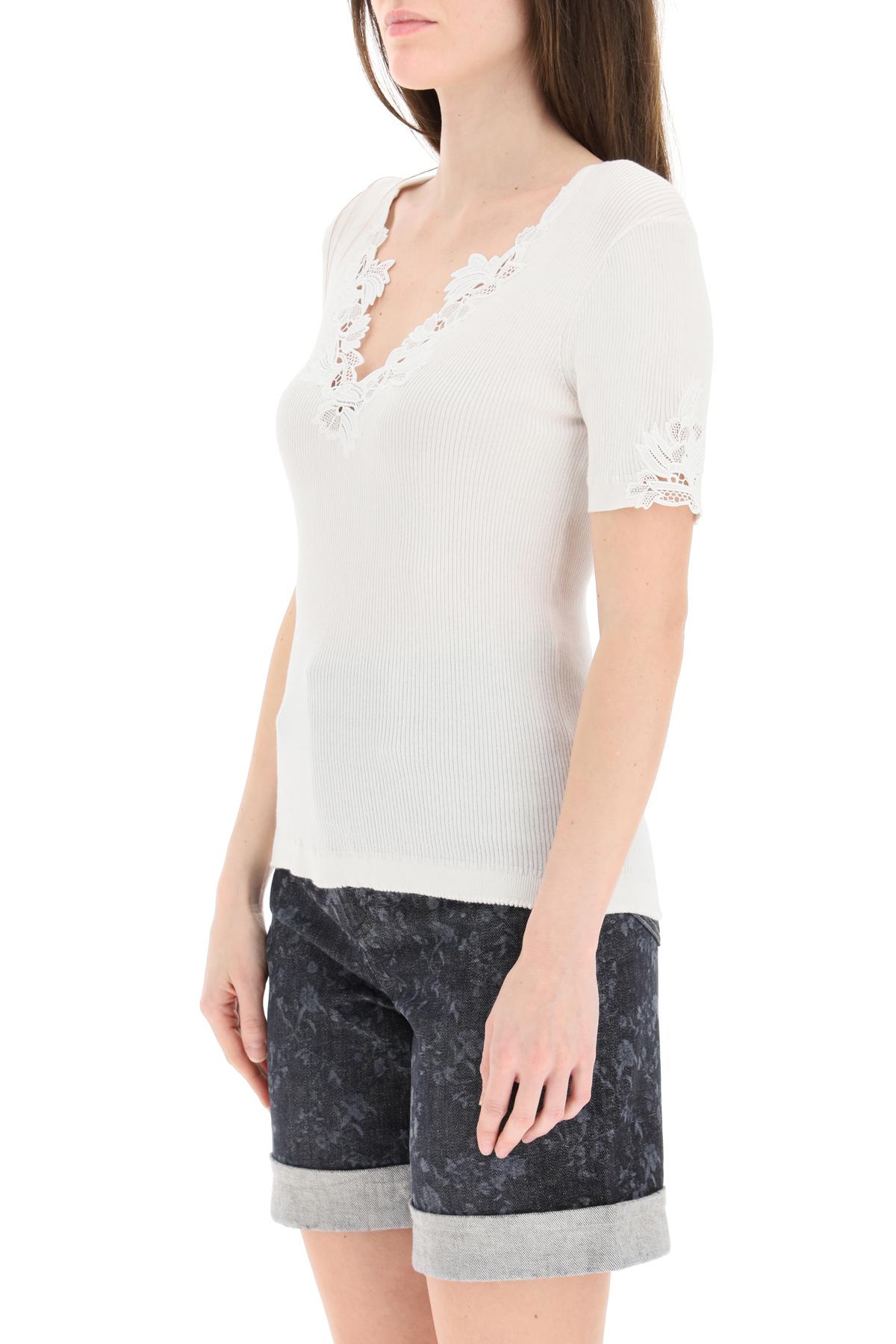 Chloe' top in maglia con inserti guipure