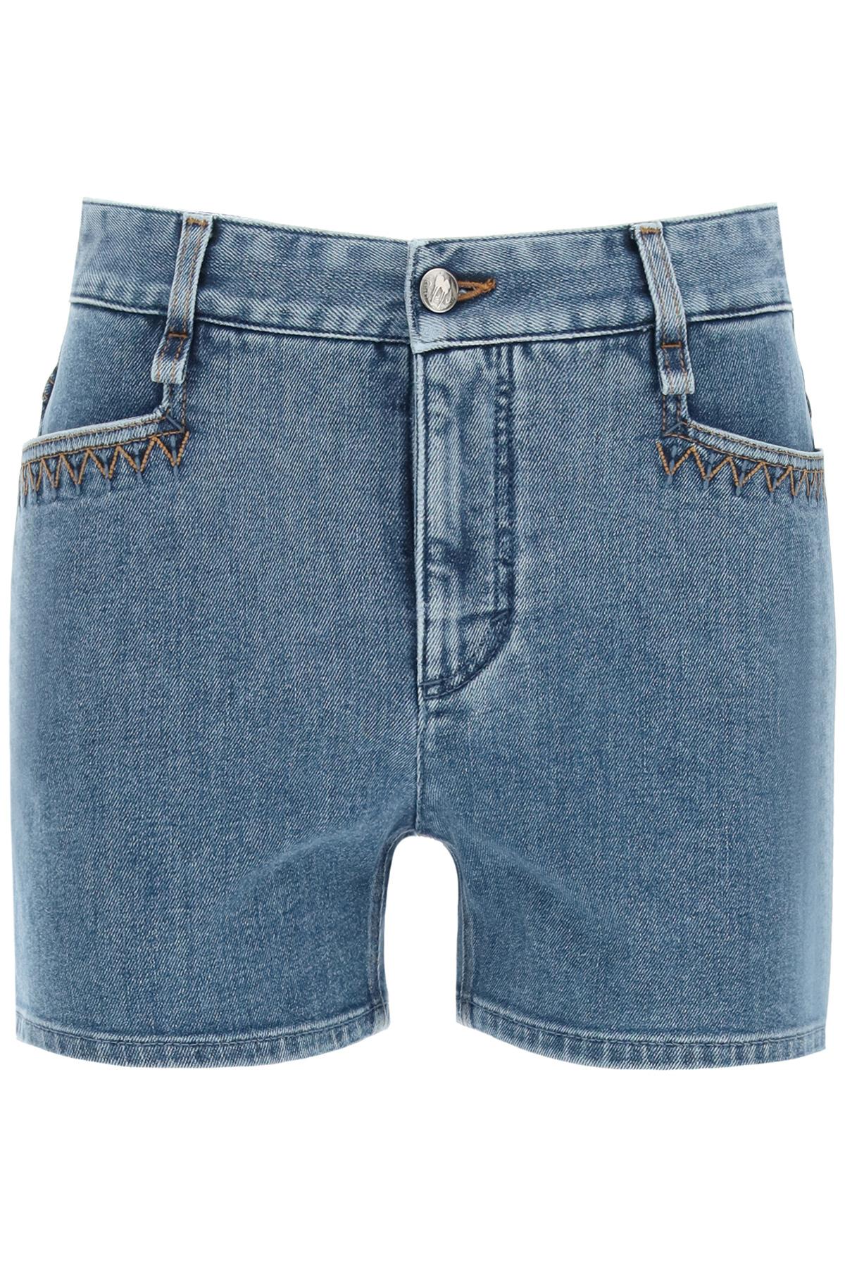 Chloe' shorts in denim logo a laser