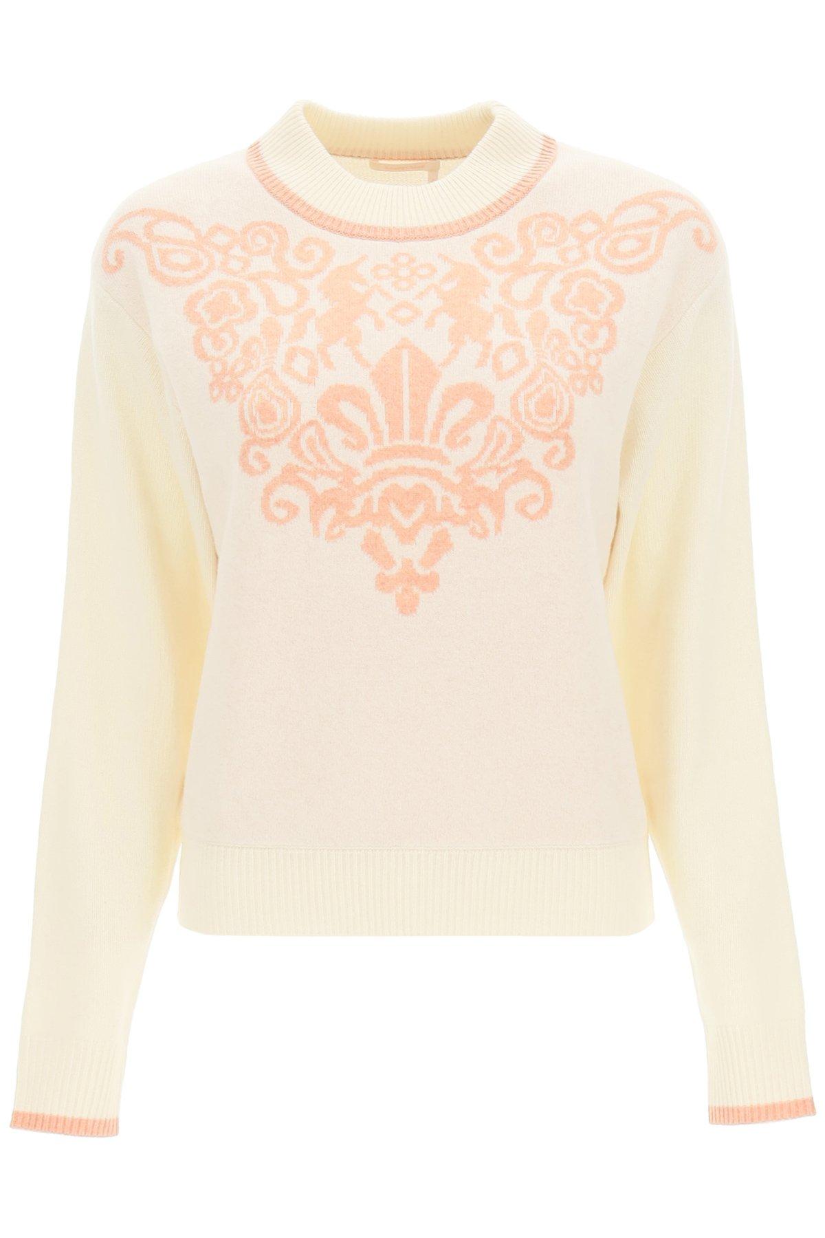 See by chloe maglione in lana con motivo fleur de lis