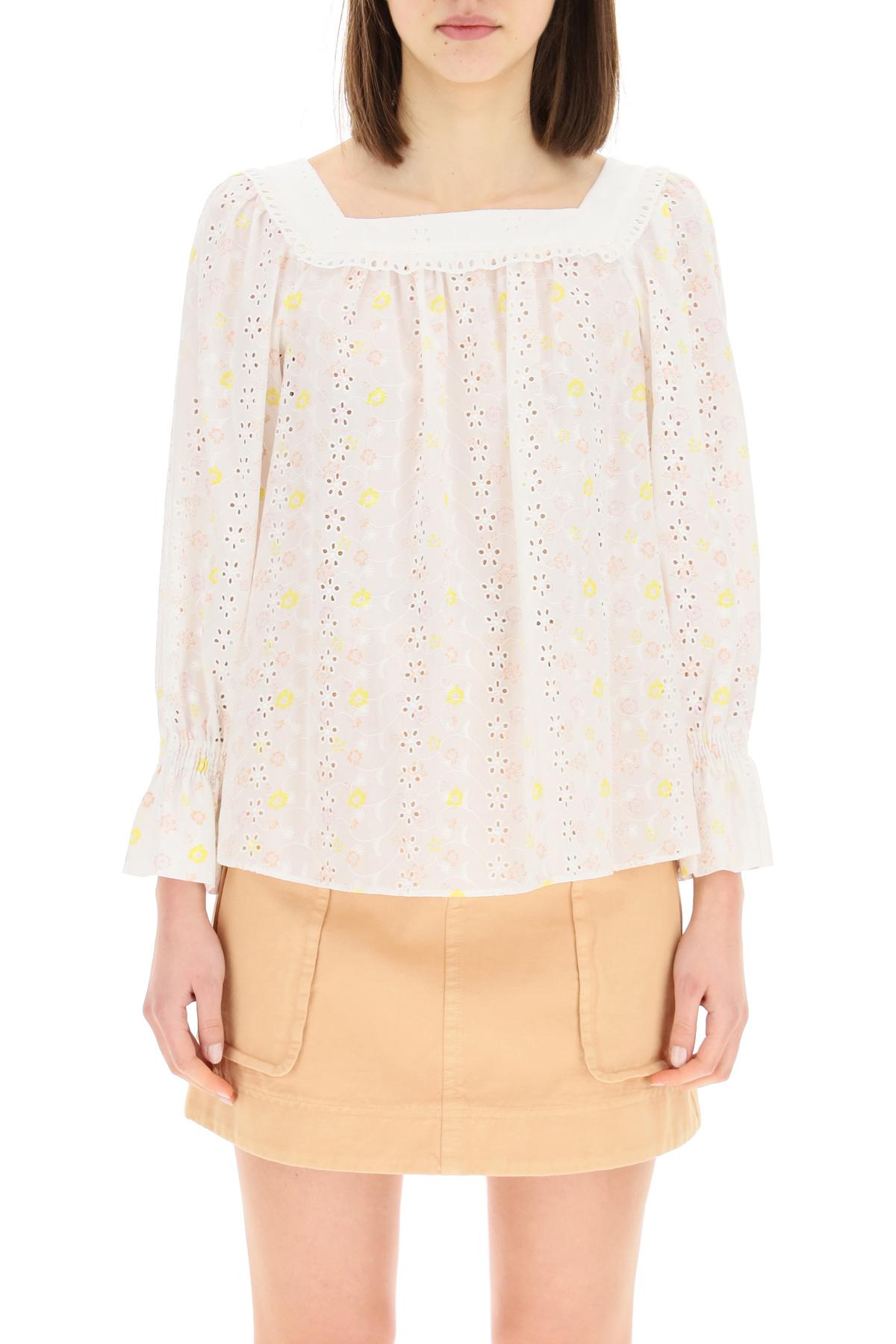See by chloe blusa in voile di cotone con ricami