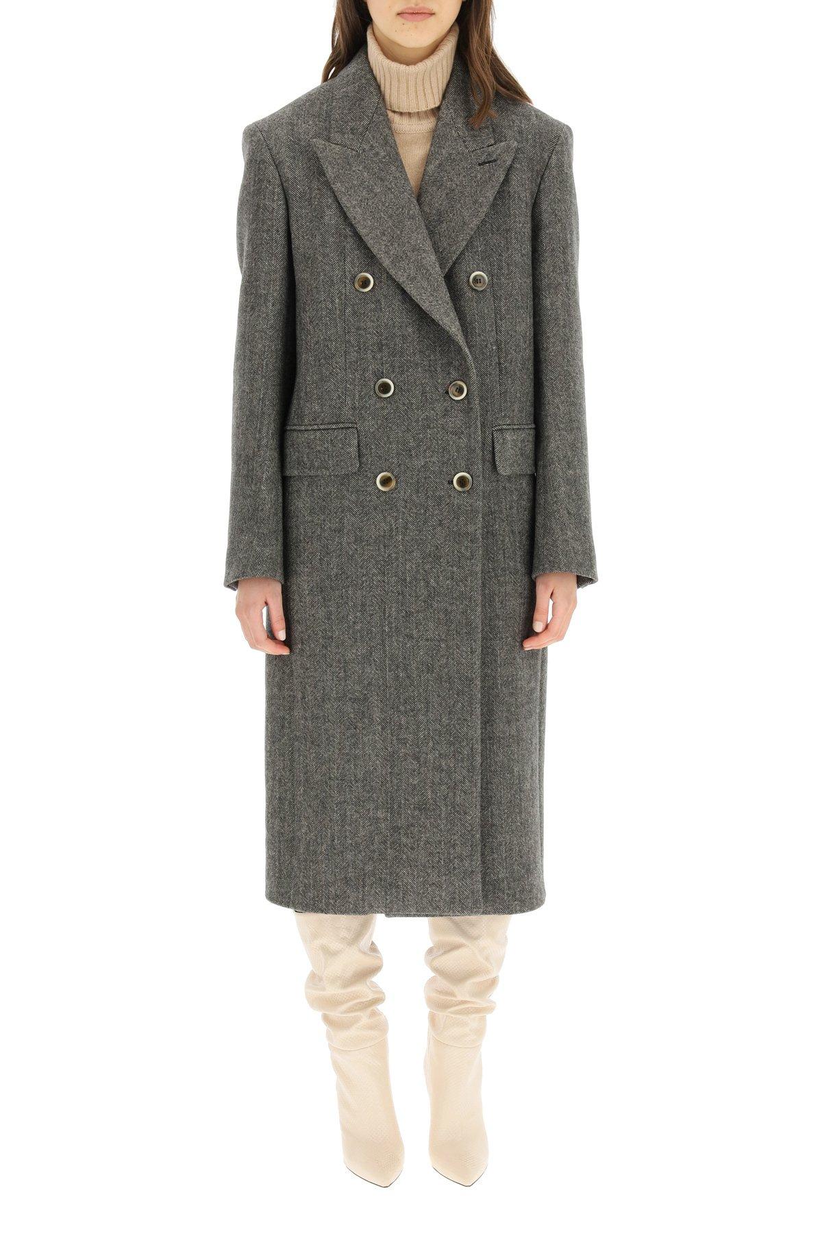 Sportmax cappotto doppio petto in lana chevron
