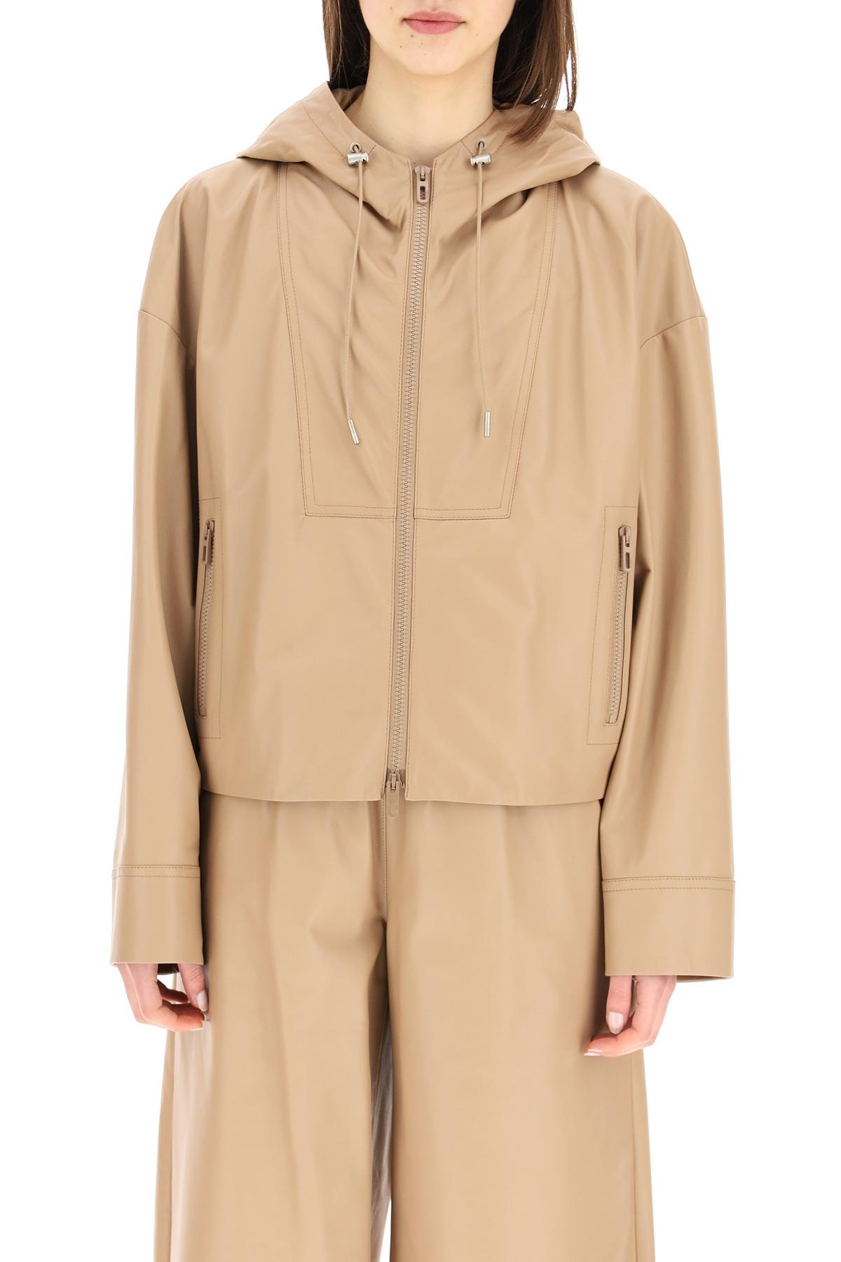 Drome jacket in pelle con cappuccio