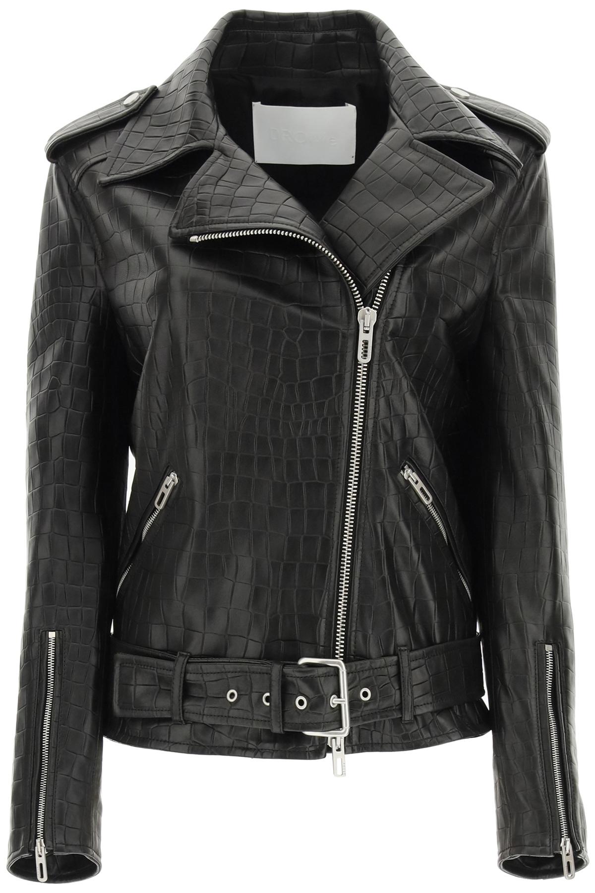 Drome biker jacket in pelle stampa croco
