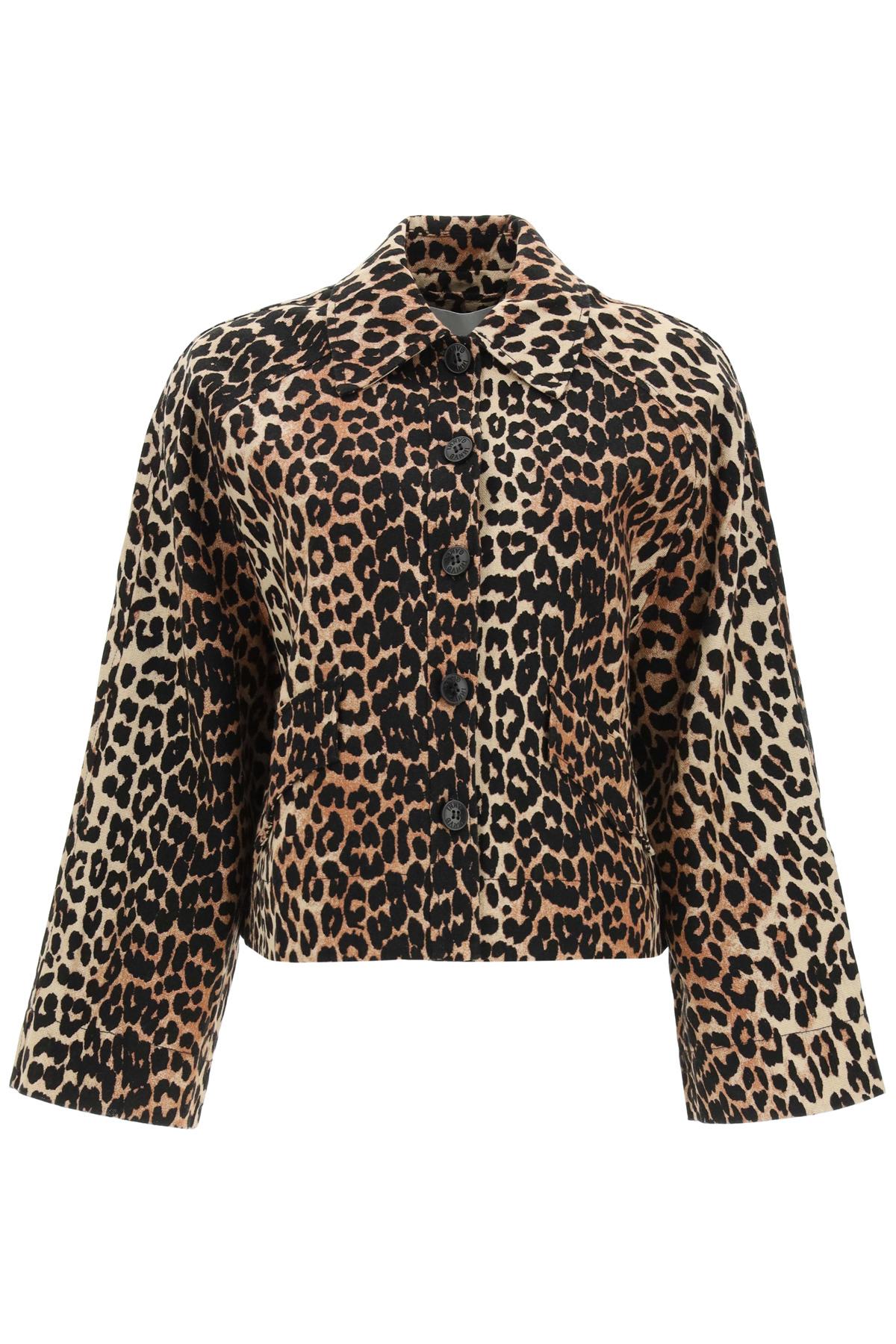 Ganni giacca in misto lino leopard
