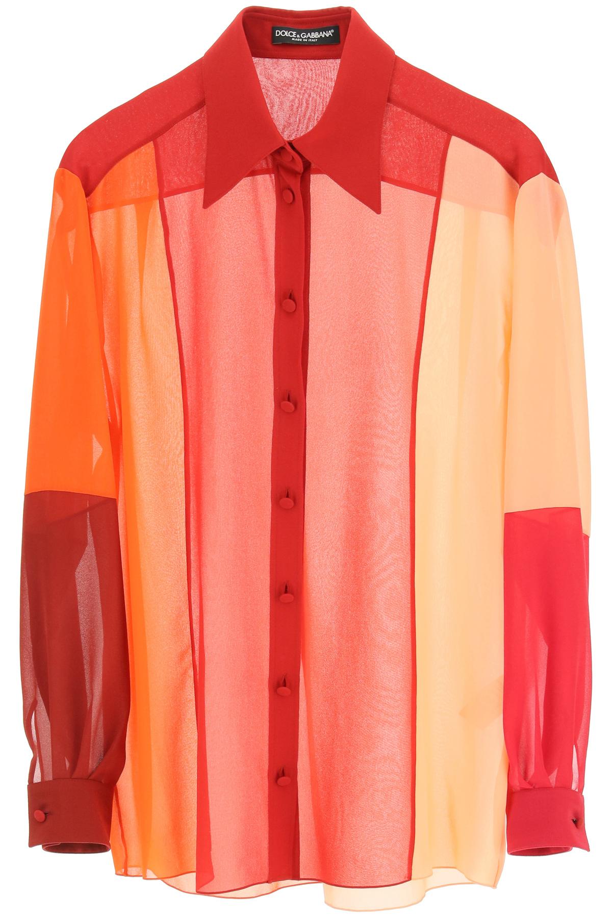 Dolce & gabbana camicia in georgette patchwork