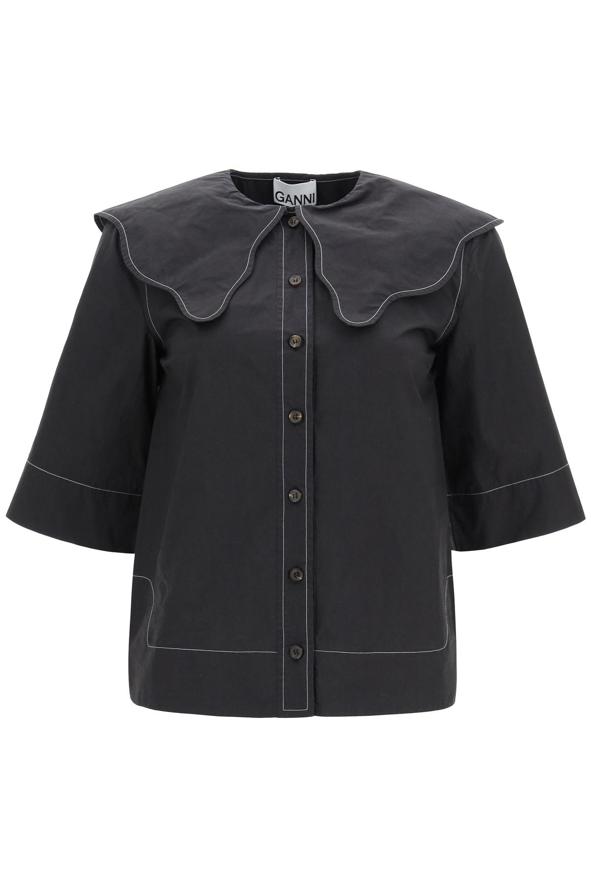 Ganni camicia manica corta con maxi colletto