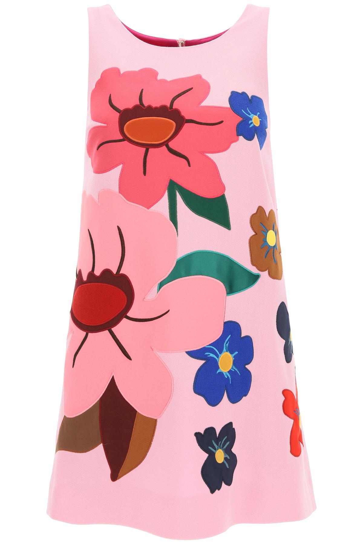 Dolce & gabbana mini abito con fiori applicati